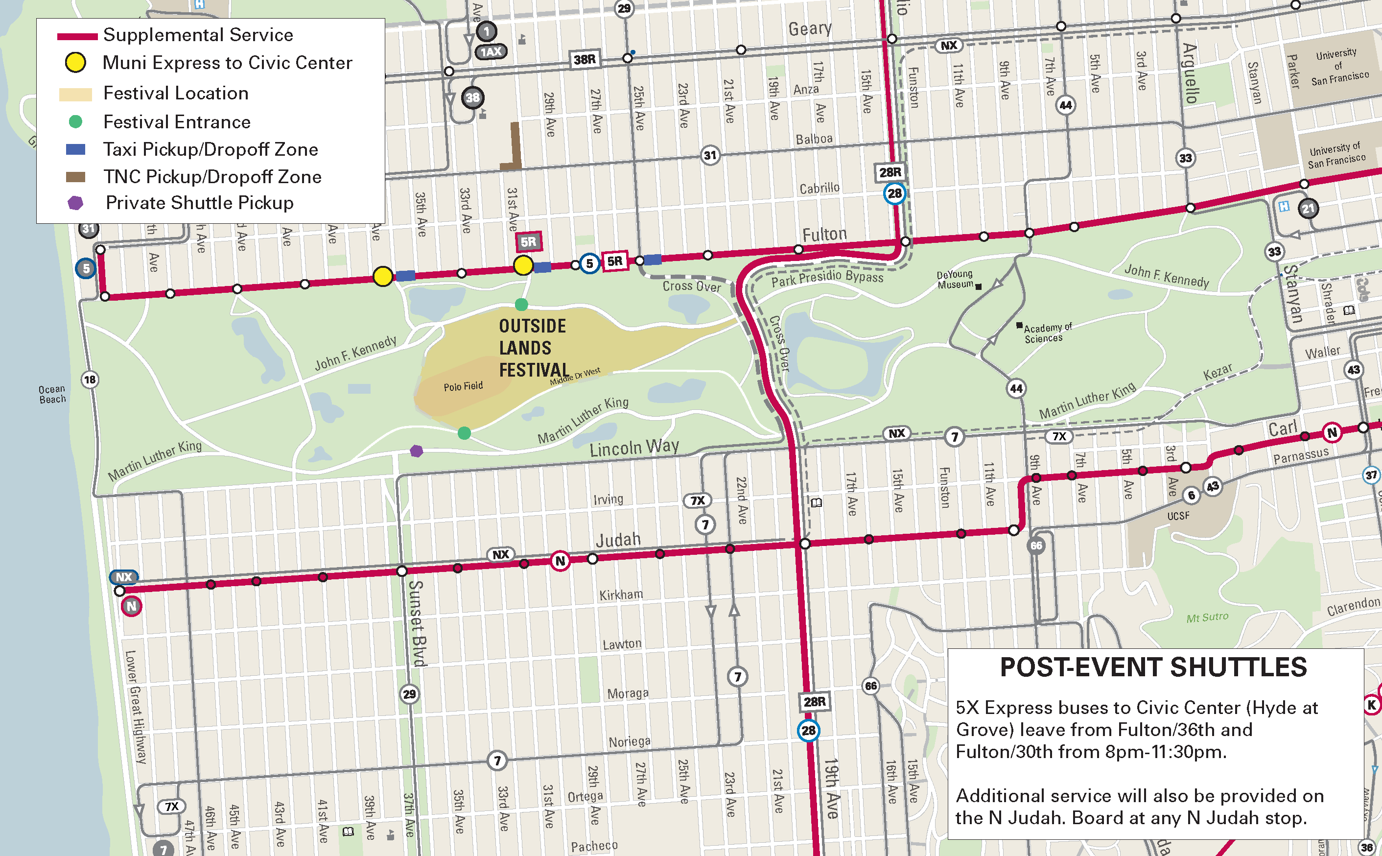 Outside Lands 2017 Map parking street closures Muni routes