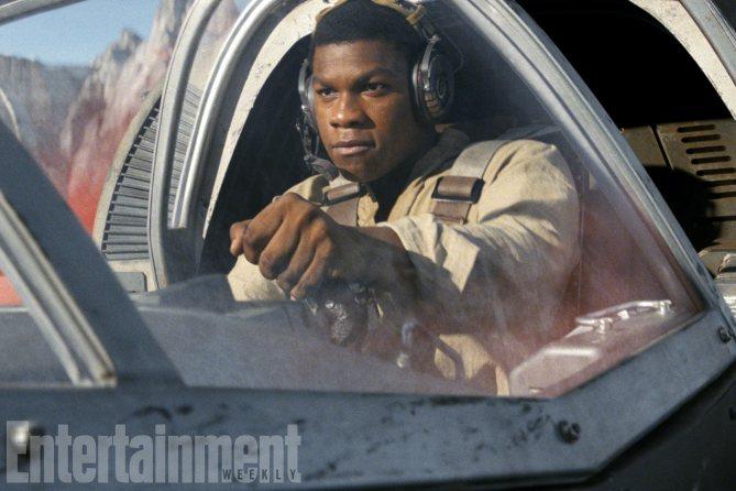 Finn sitting in pilot's seat in Star Wars: The Last Jedi.