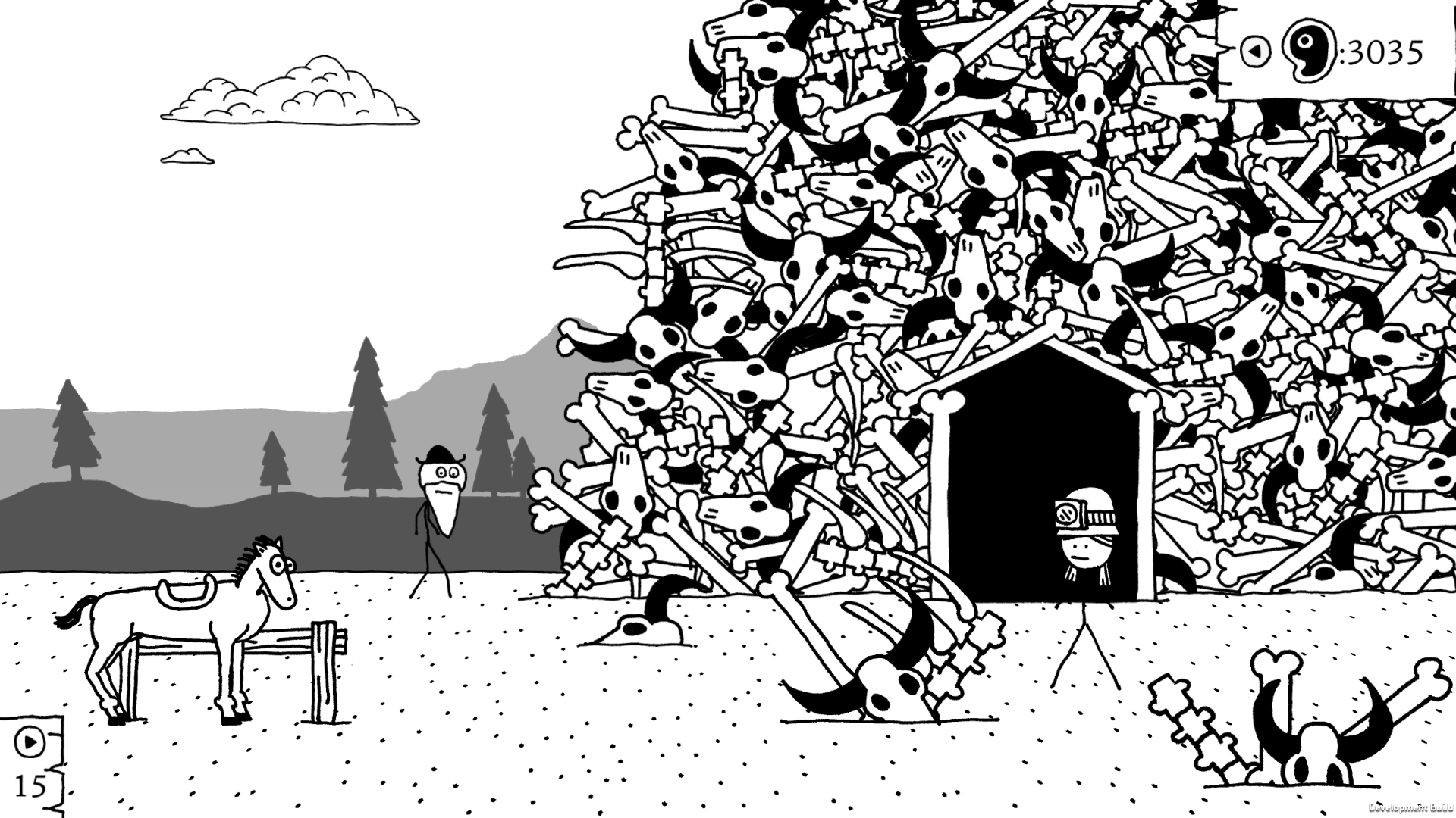 This screenshot from West of Loathing shows two characters standing in front of what appears to be a massive pile of buffalo bones. A horse also stands nearby.