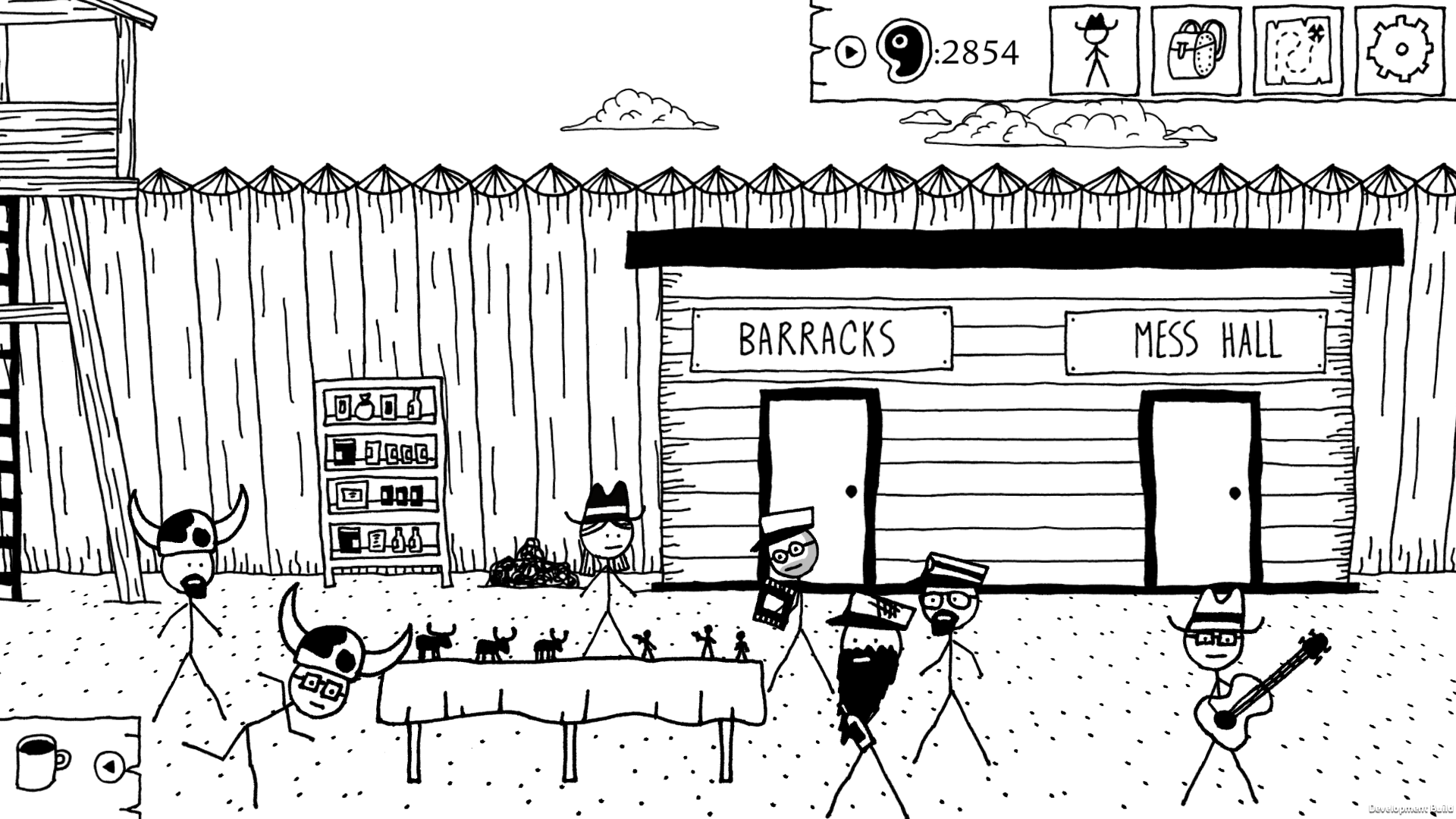 "This screenshot from West of Loathing features seven stick figure characters standing in front of two doors labeled ""Barracks"" and ""Mess Hall."" A table is set up in front of several of the figures, covered in small figurines. One of the stick figures hold"