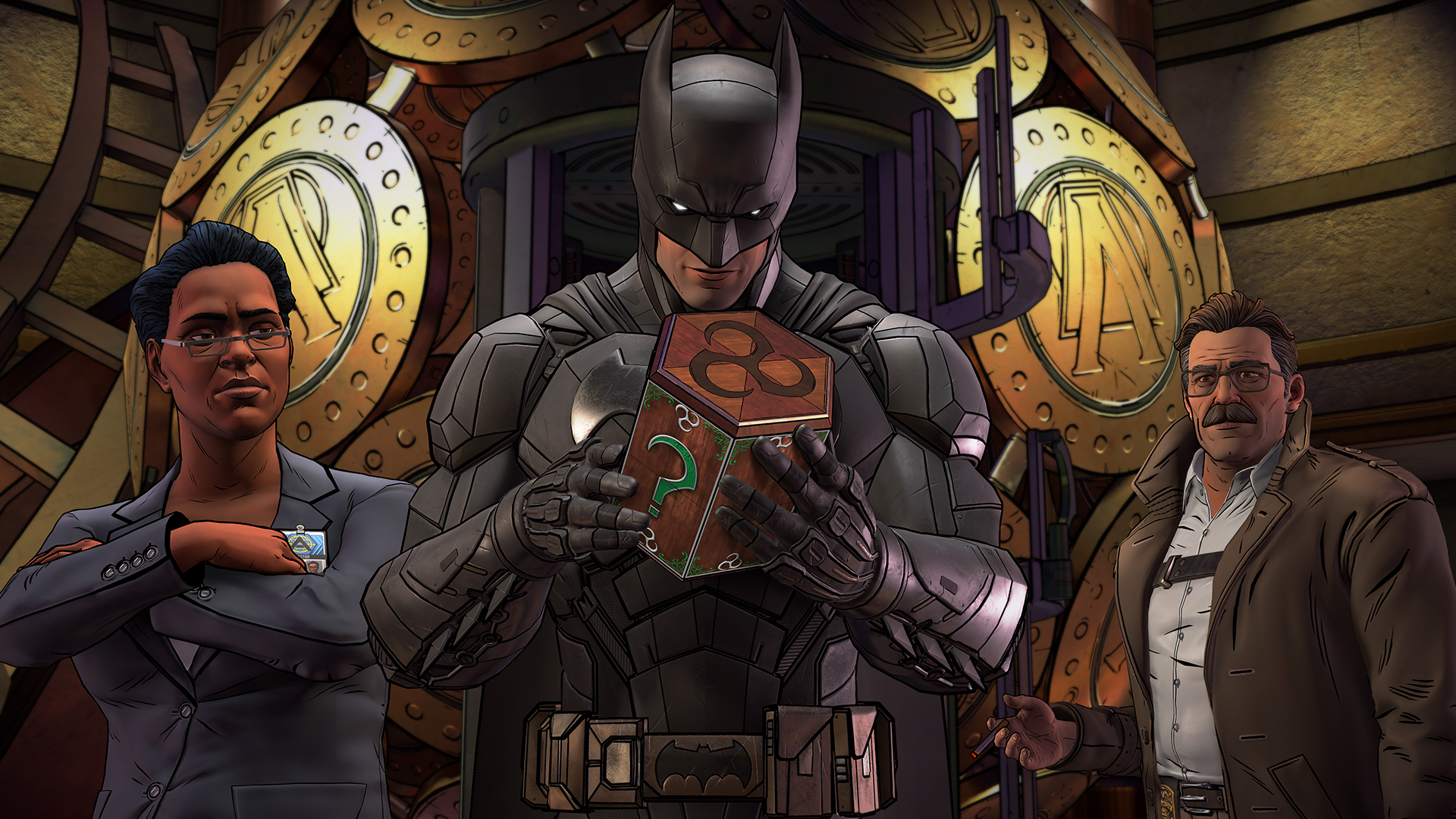 Amanda Waller, Batman and Commissioner Gordon inspect Riddler's puzzle box in Batman: The Enemy Within.