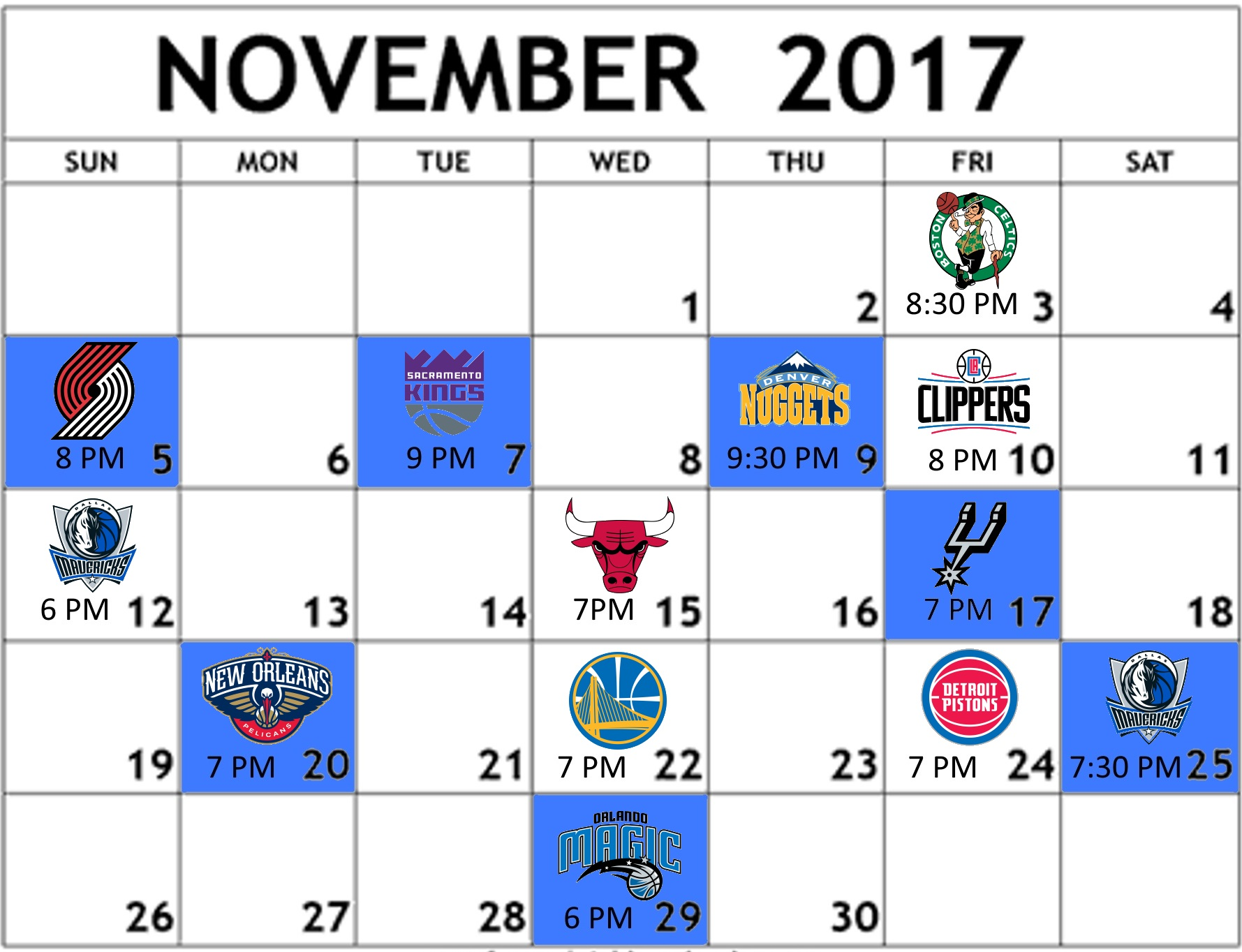 image relating to Thunder Schedule Printable identified as Greatest 12 Okc Thunder Plan 2017 18 - Amazing Very little