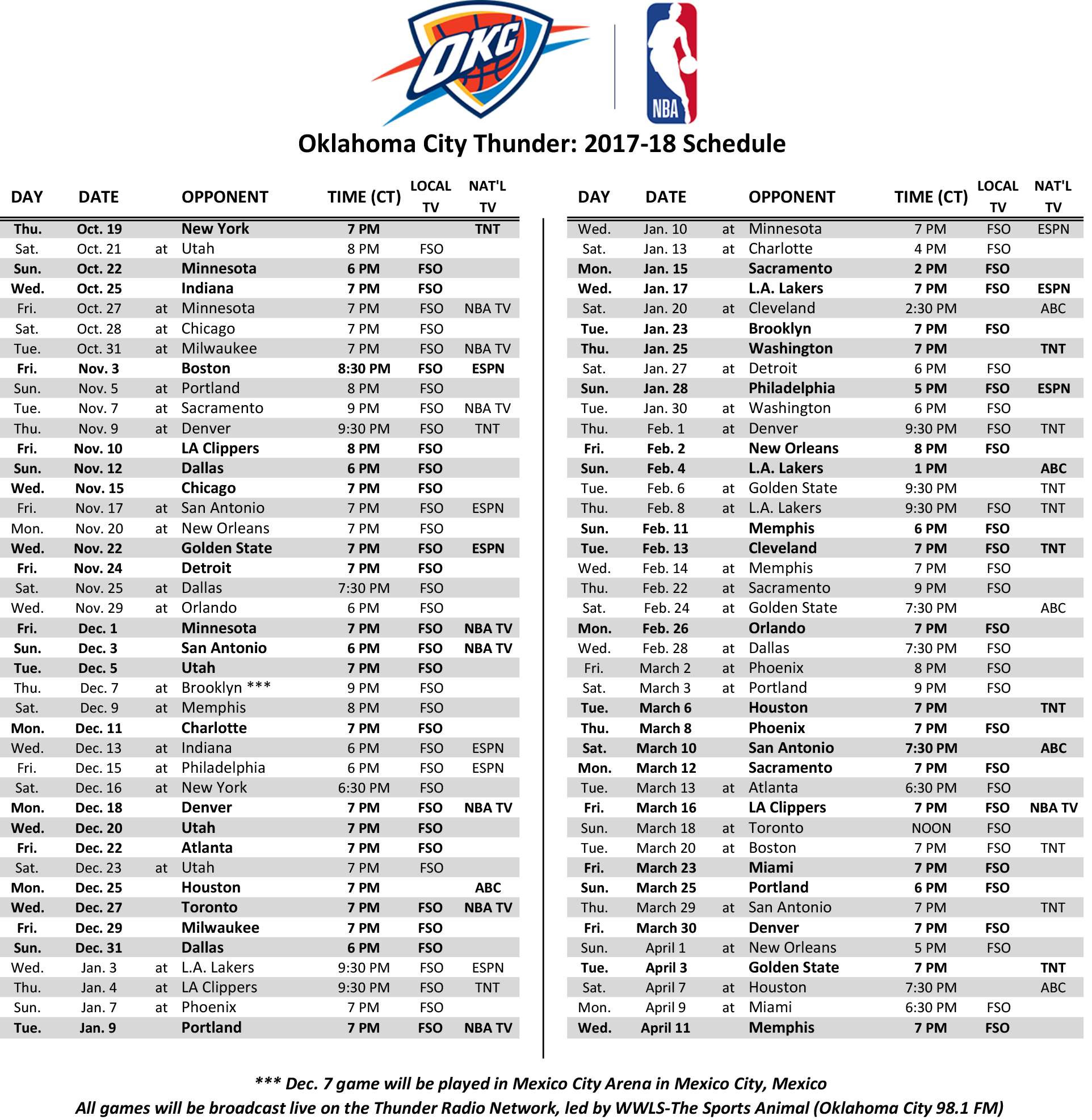 Zany image within thunder schedule printable