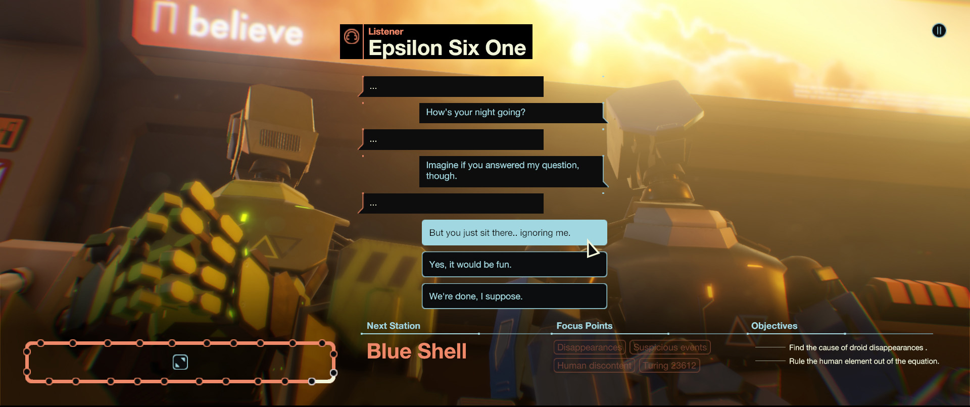 This screenshot from Subsurface Circular shows off one of the game's dialogue sequences. A blue robot faces away from the camera, while a much larger green robot faces toward it. The dialogue text includes the blue robot asking the green how its night is