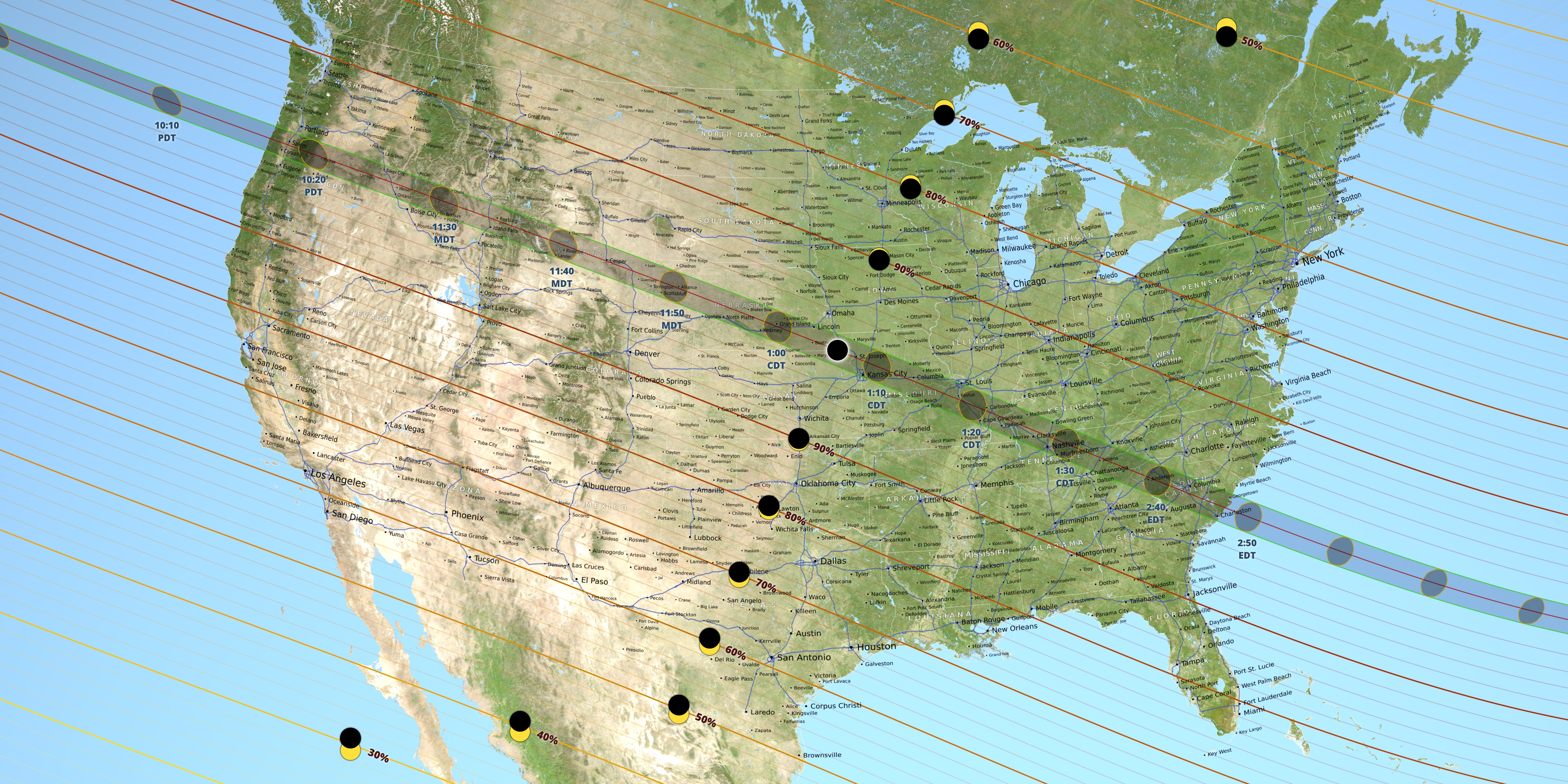 This Nasa Map Of The United States Shows The Path Of Totality For The August 21