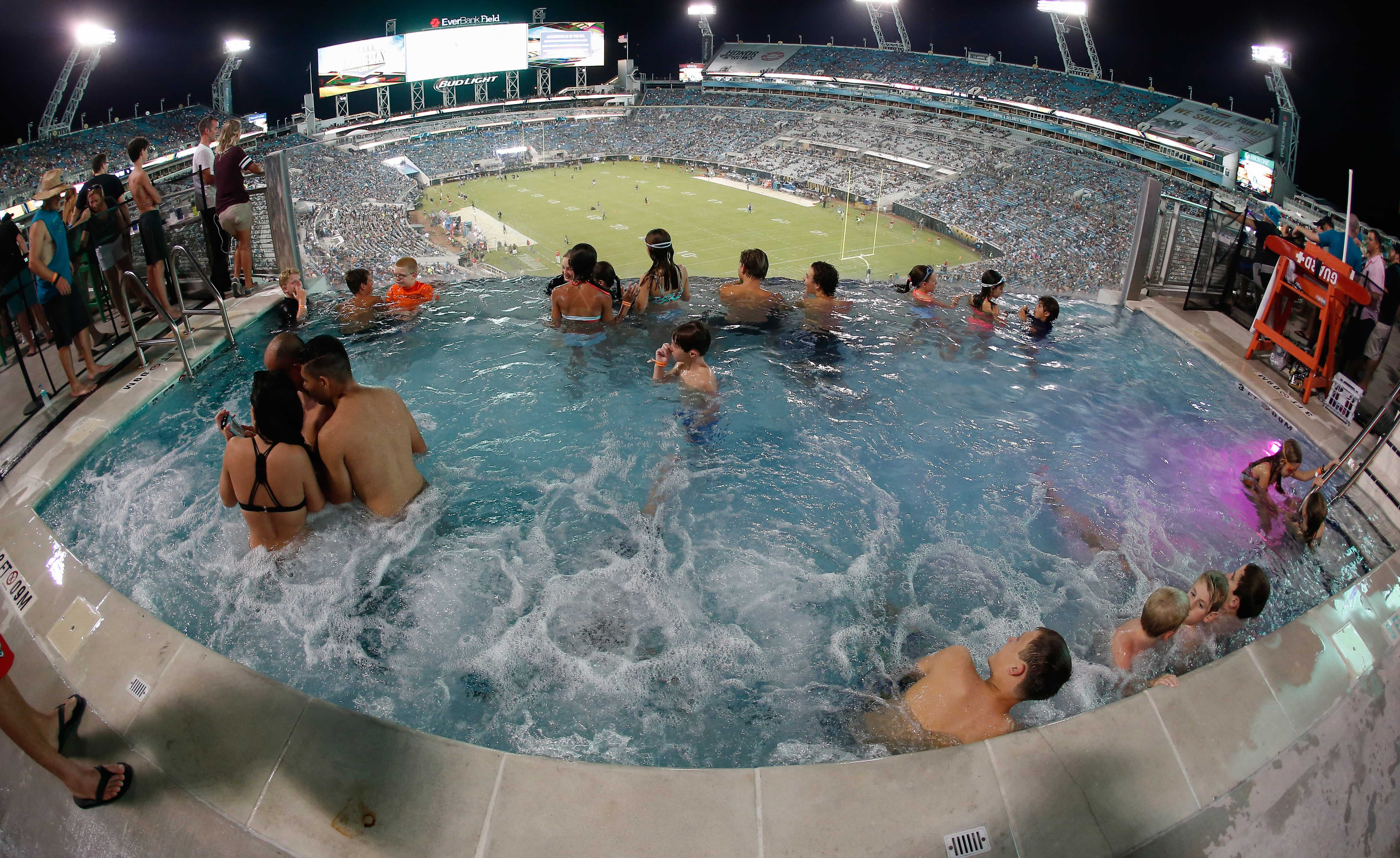 Rutgers put a pool in the football student section for Florida hot tubs