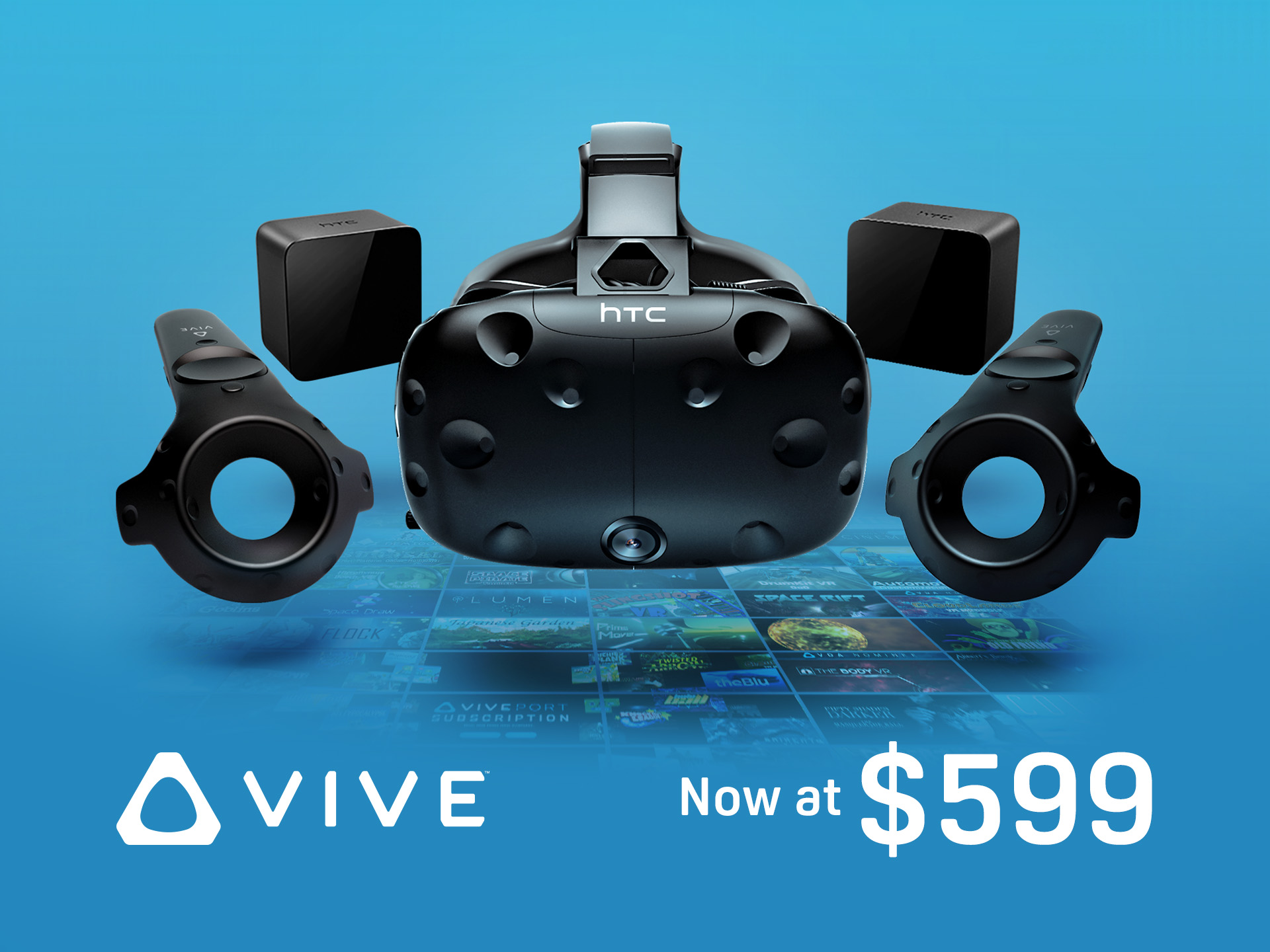 HTC Vive price drop art- now available for $599