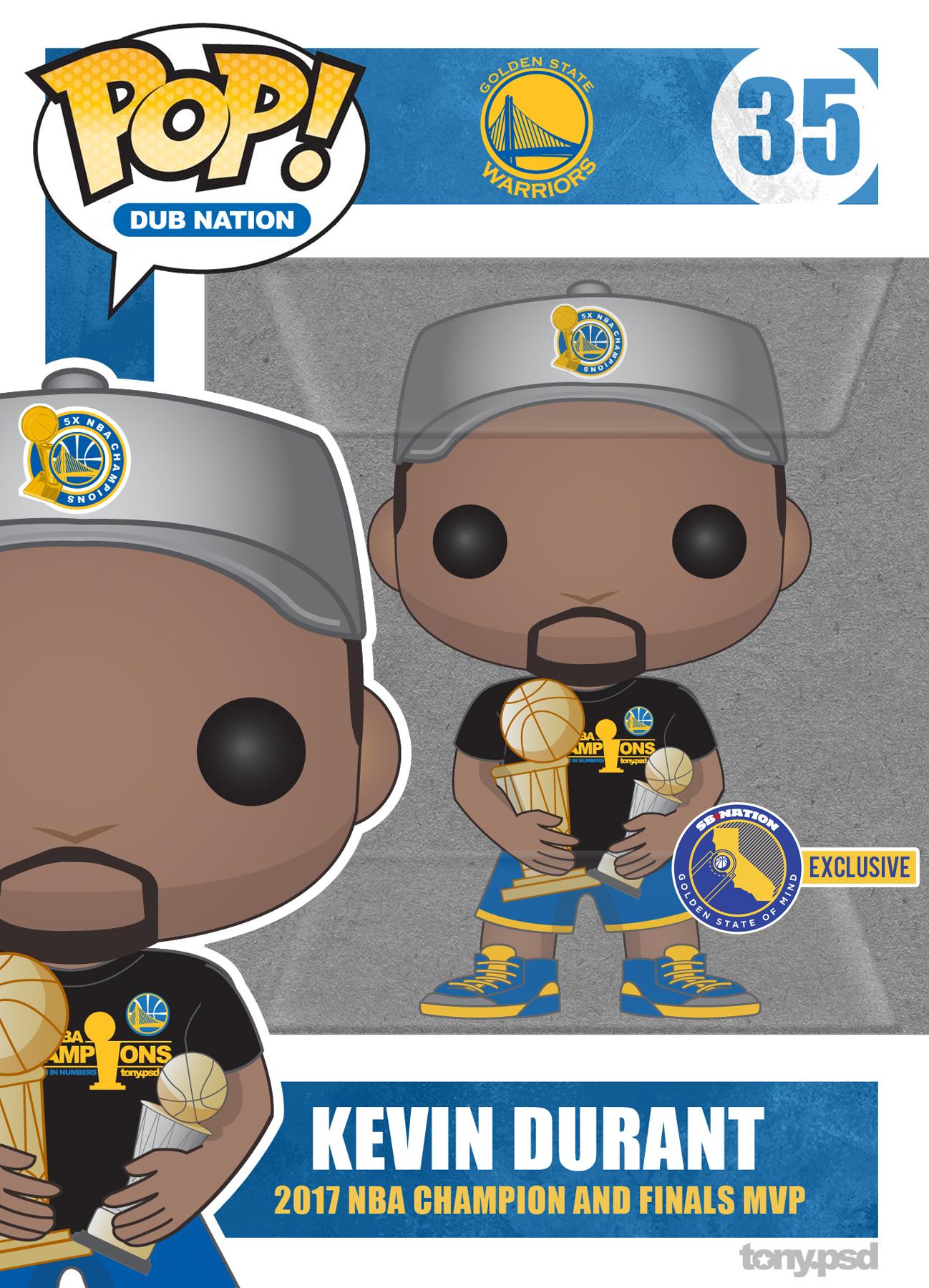 Warriors' Kevin Durant Custom Funko Pop Art - Golden State Of Mind