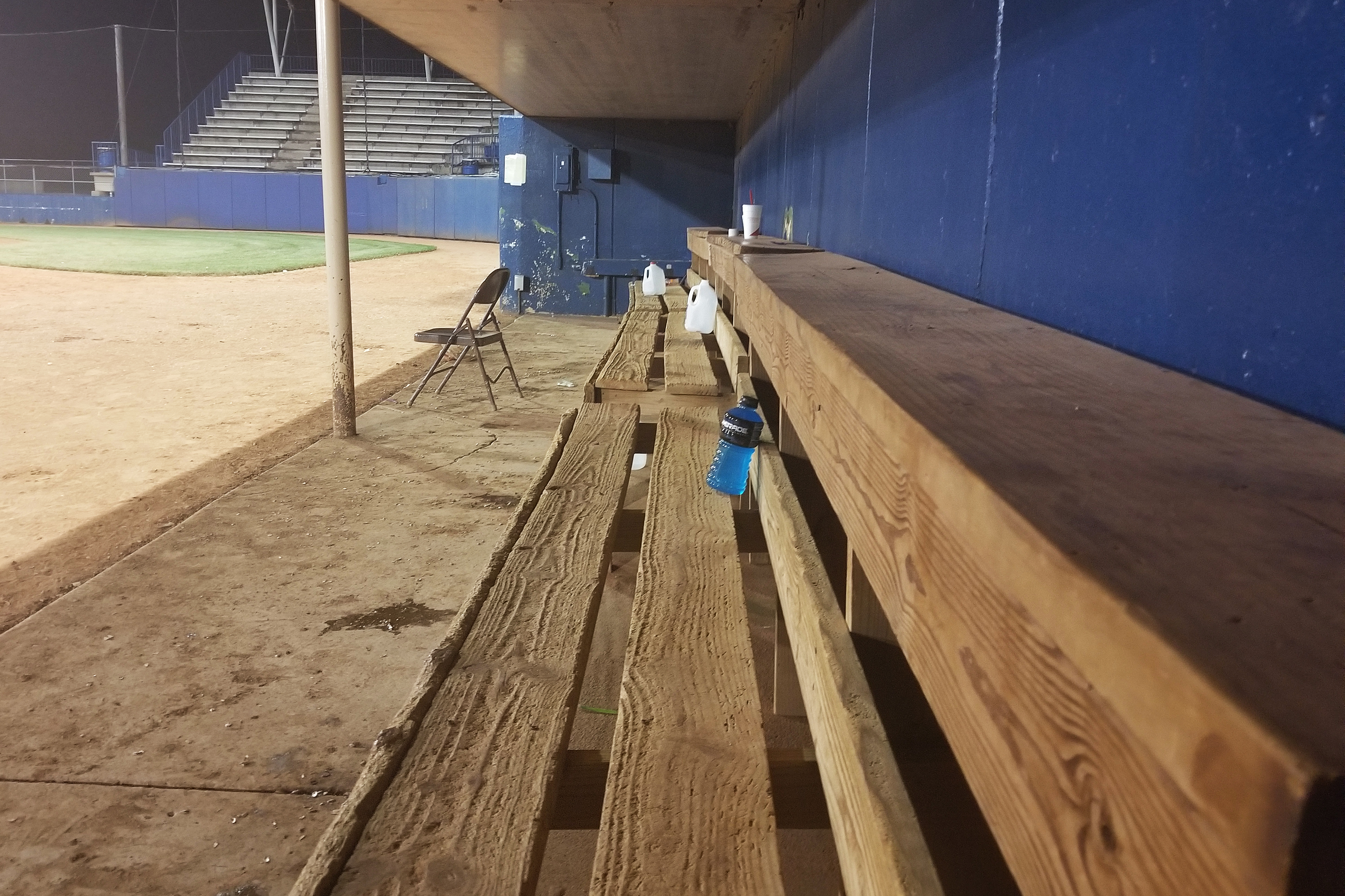 The Salina Stockade bench after manager JD Droddy's last game