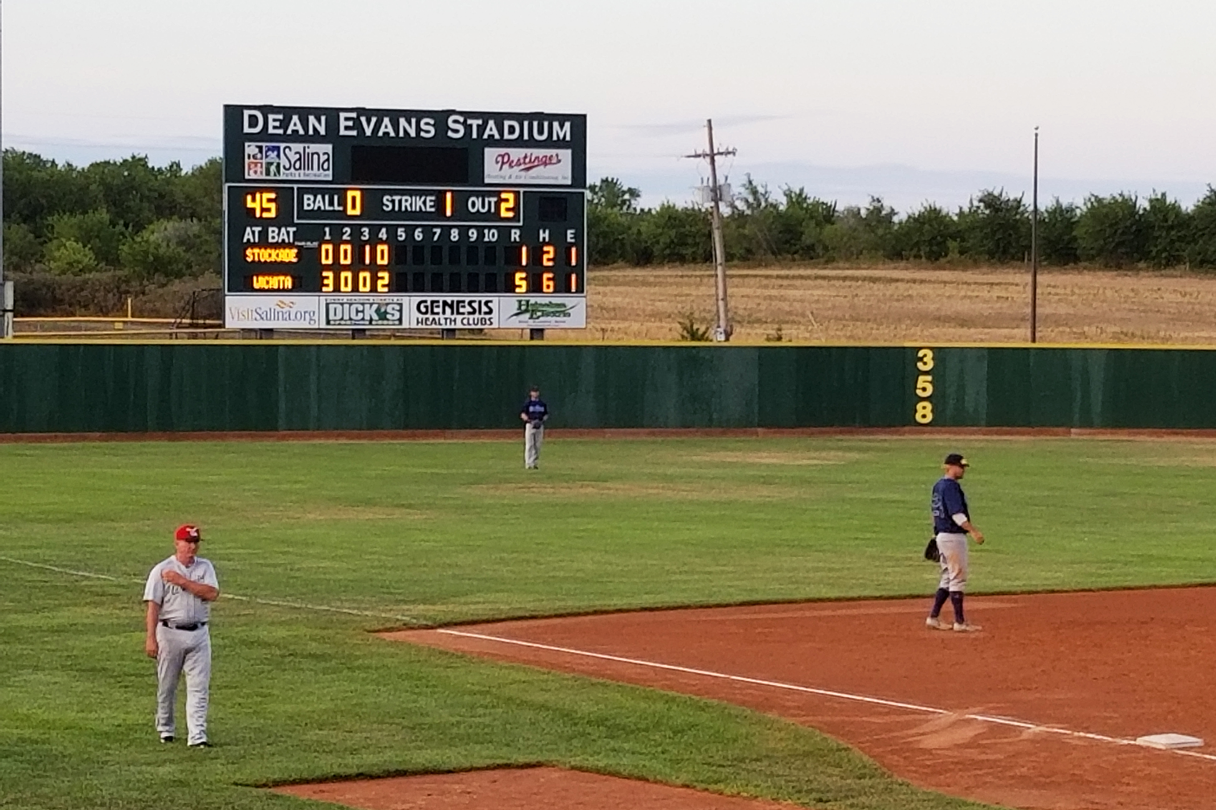 "The scoreboard at Dean Evans Stadium, with the Wichita Wingnuts at ""home"""