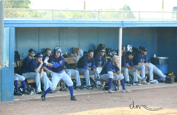 The Stockade bench during Game 2 of their doubleheader against the Wichita Wingnuts