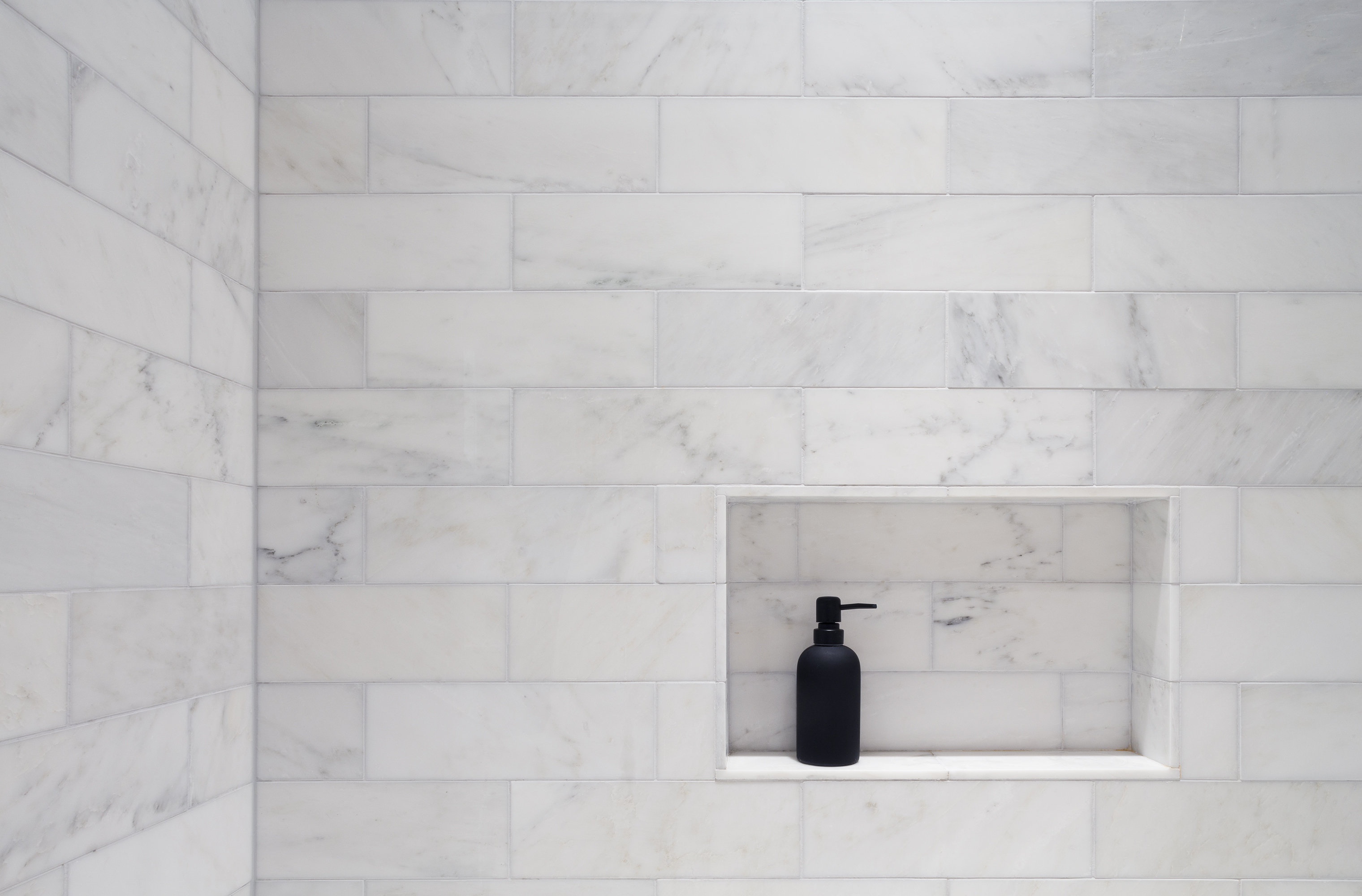 Part 6 the bumpy road to our dream bathroom curbed ny architect otto ruano designed a niche in the showerbath the walls are tiled with carrara venato 4x12 subway tile ordered from builder depot dailygadgetfo Choice Image
