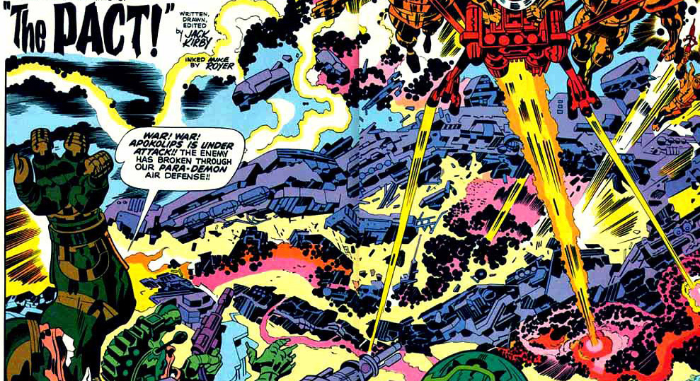 A double page spread of Apokaliptian troops from New Gods #7.