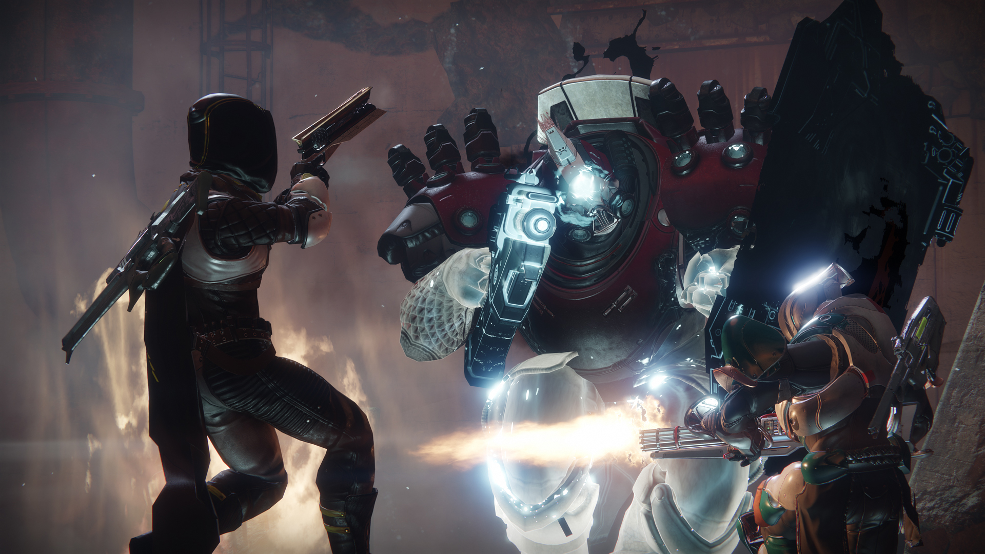 Destiny 2 - two Guardians combating sparkling Taken enemy in Lake of Shadows, the PS4-unprecedented strike
