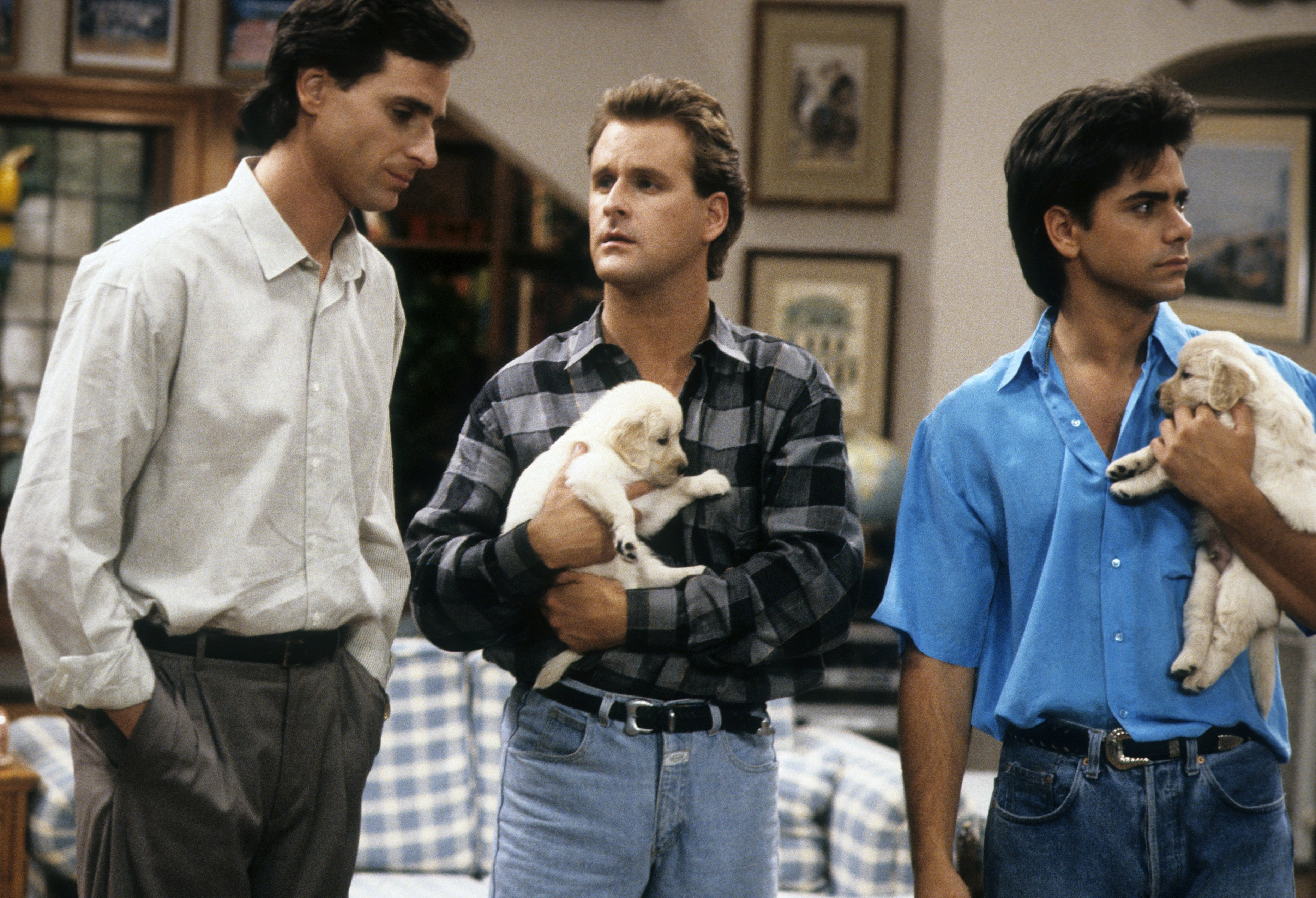 Bob Saget, Dave Coulier, and John Stamos in Full House.