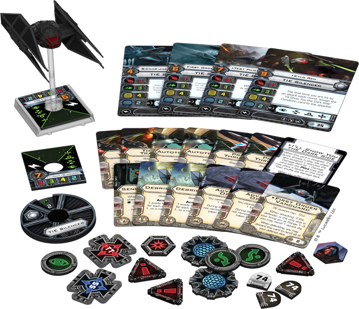 """In addition to Kylo Ren and its pre-painted miniature starfighter, the TIE Silencer Expansion Pack comes with one more unique pilot, two non-unique pilots, twelve upgrades, and a copy of Kylo's signature condition card, I'll Show You the Dark Side.&"