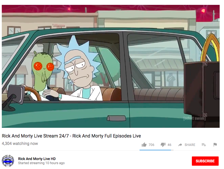 Rick and Morty screenshot from the Rick and Morty livestream on YouTube.