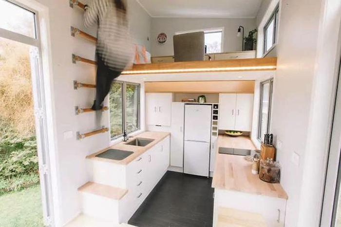 Tiny House tiny house for millennials has a retractable staircase - curbed