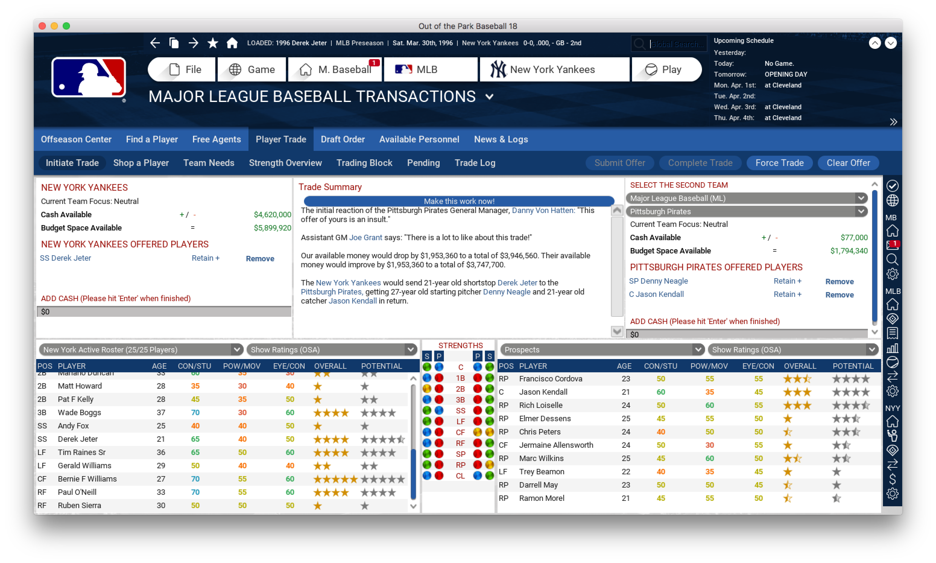 Jeter trade with Kendall added