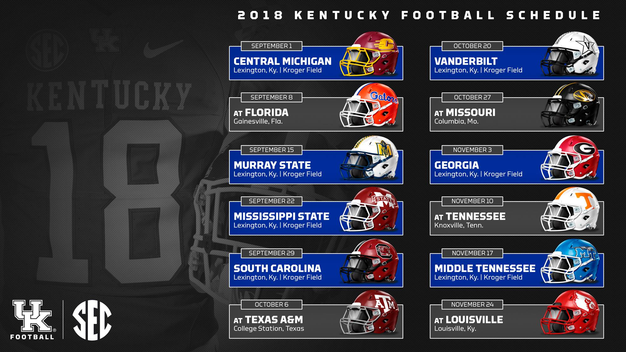 2017 2018 College Football Bowl Schedule >> Kentucky Wildcats Football 2018 Schedule, Dates, Locations Announced - A Sea Of Blue