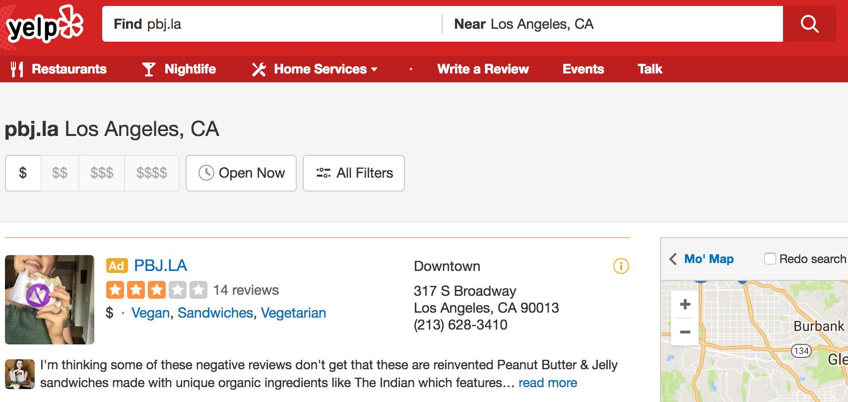 Restaurant reviews yelp - La S Placed Ad On Yelp Yelp Screenshot