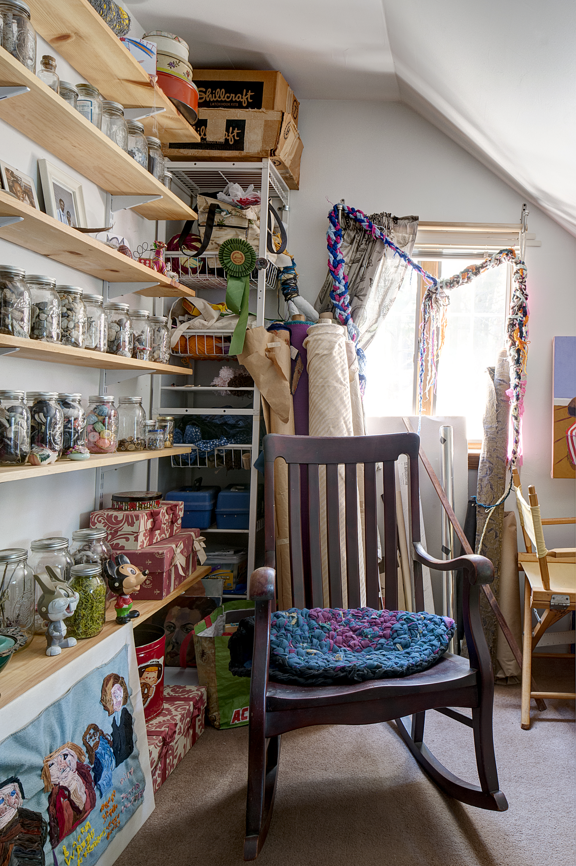 In a charming east falls home art runs in the family curbed philly a wall of shelves in stephanies studio are lined with mason jars filled with materials amipublicfo Image collections