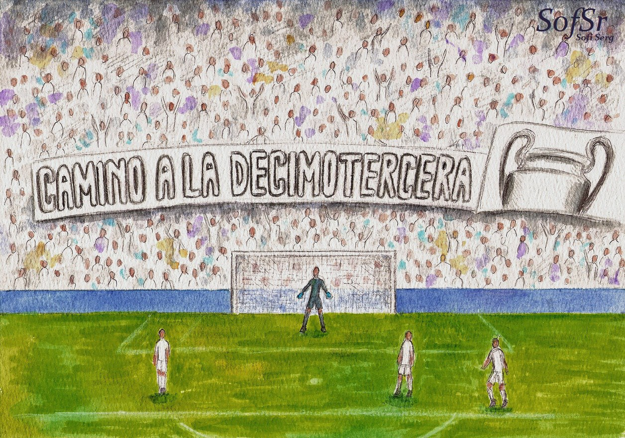 My drawing of the Grada Fans during the Real Madrid vs. APOEL match. e94f08f08