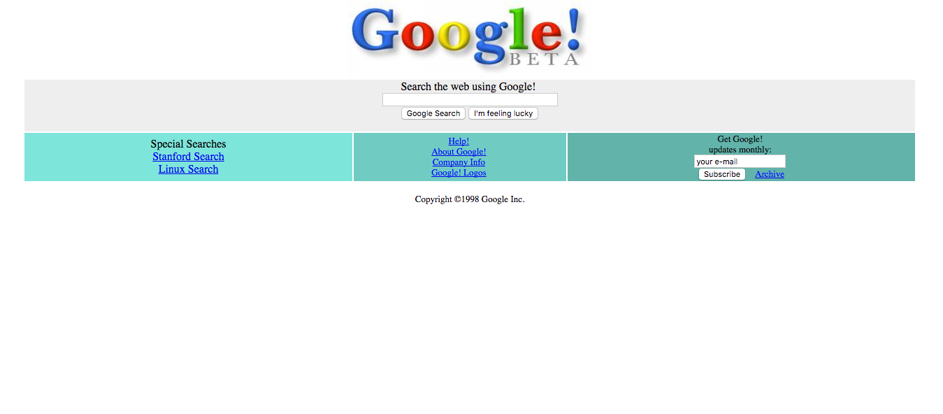 This is a screenshot of Google's beta webpage on Dec. 2, 1998