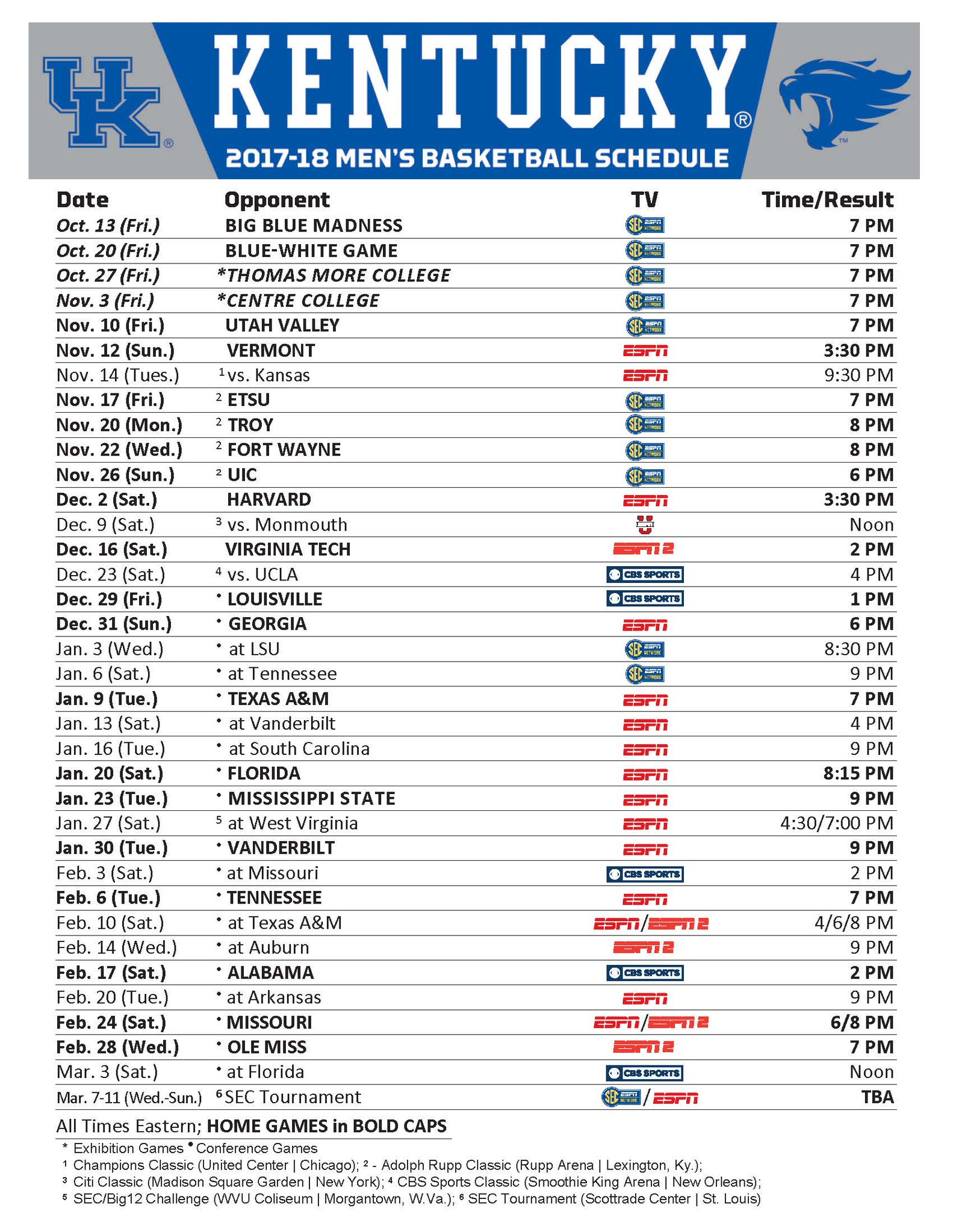 Kentucky Wildcats Basketball: Full 2017-18 Schedule ...
