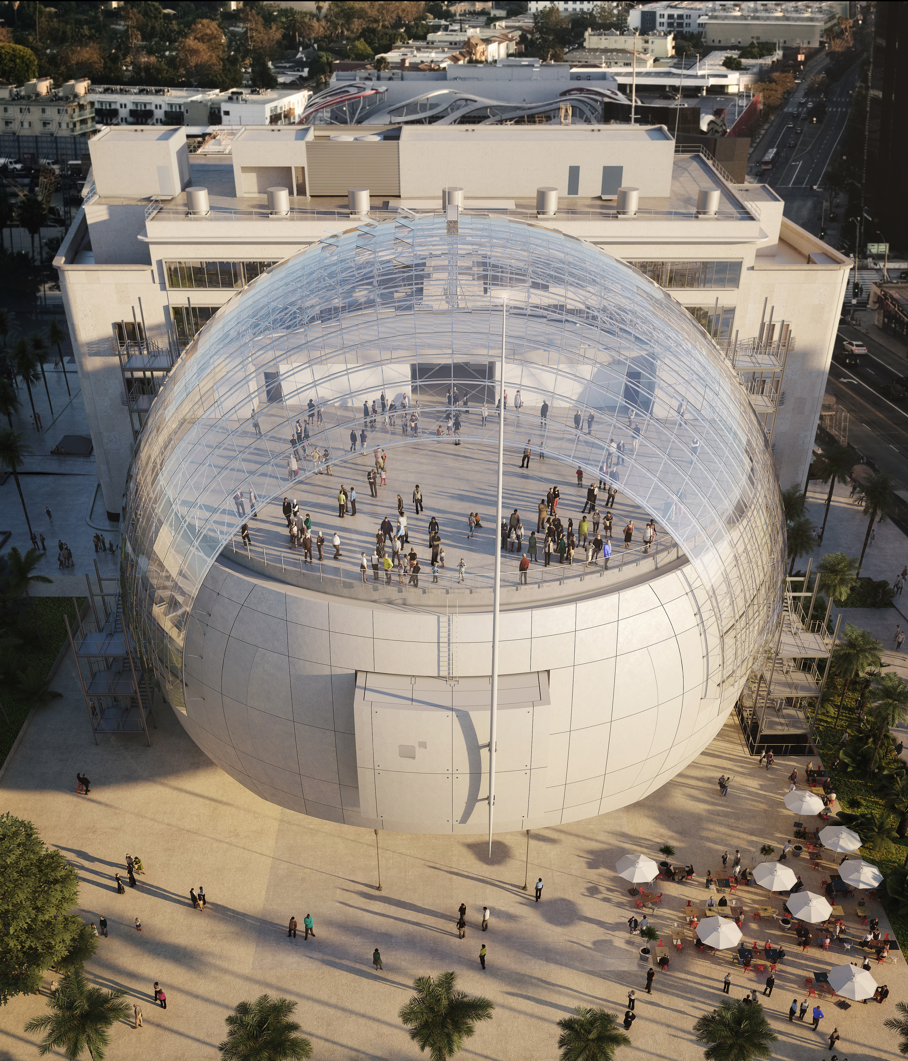 The Sphere And Saban Building, Seen From The North. From Some Angles, The  Sphere Appears To Float, But It Will Be Anchored To The Ground Via Four  Concrete ...