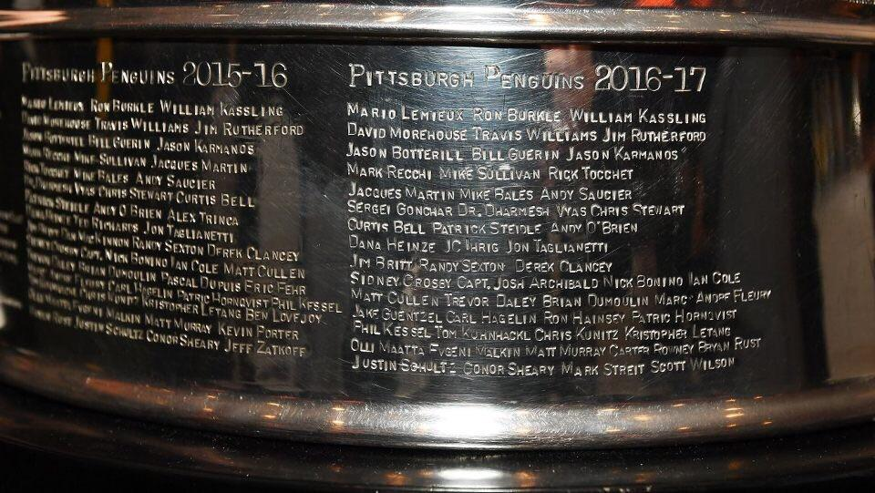 Image result for penguins names on stanley cup 2017
