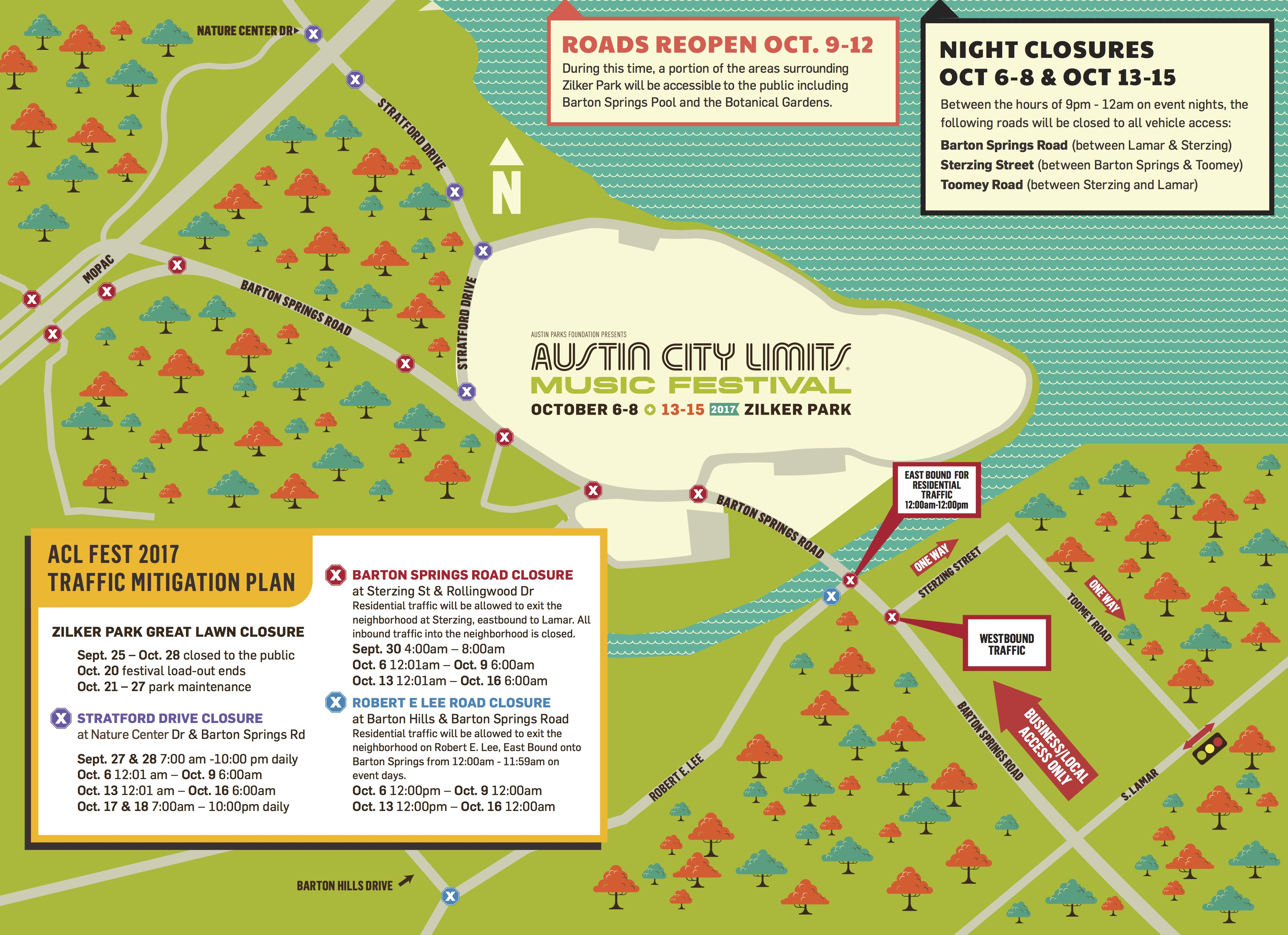 ACL Fest Weekend Street Closures Maps And - I drive us closure map