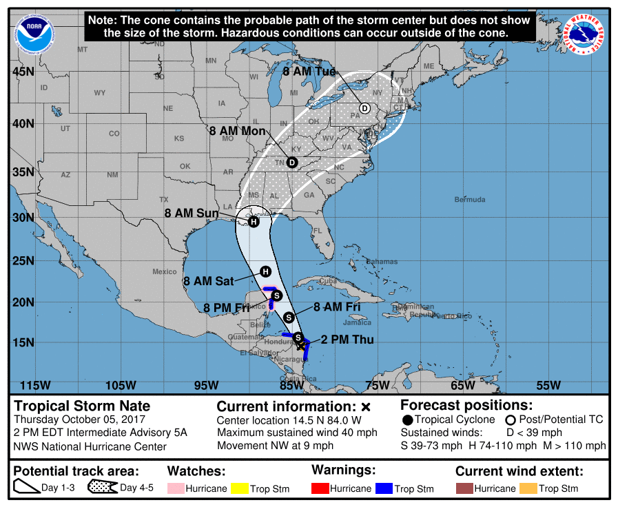 Tropical Storm Nate Expected To Strengthen