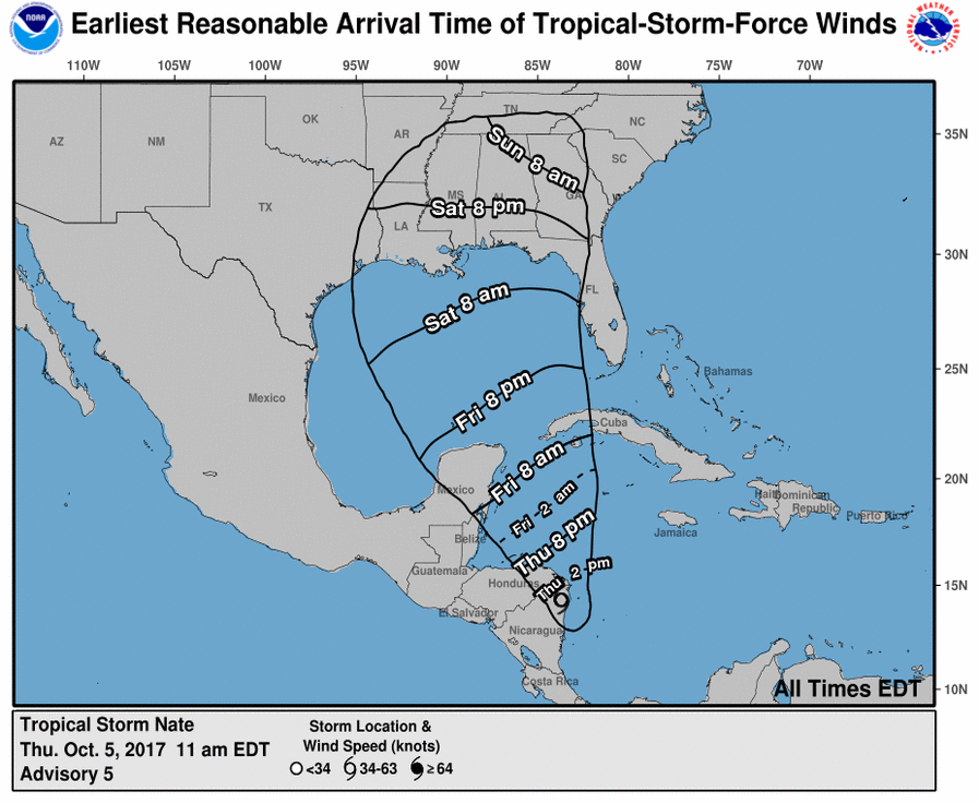 Meteorologists expecting Tropical Storm Nate to bring rain to region