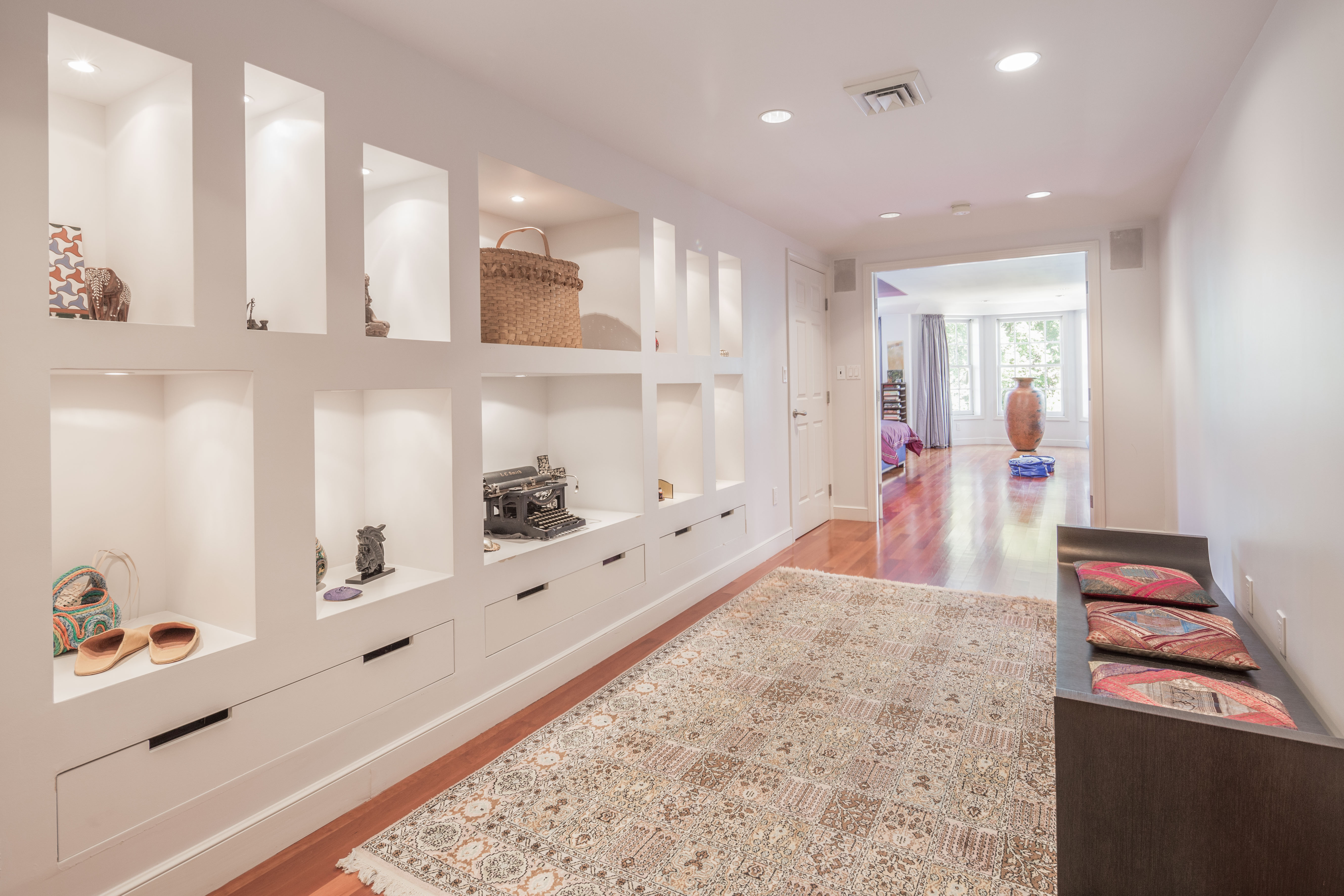 there are also 12foot ceilings builtin shelves pocket doors and the potential for three bedrooms