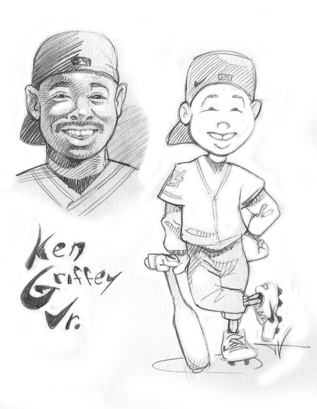 Sketch of 'Backyard Baseball' version of Ken Griffey Jr.