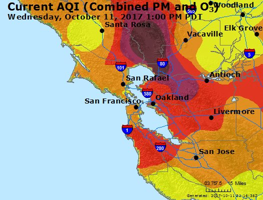 Wine country wildfires create hazardous air conditions for Bay Area residents