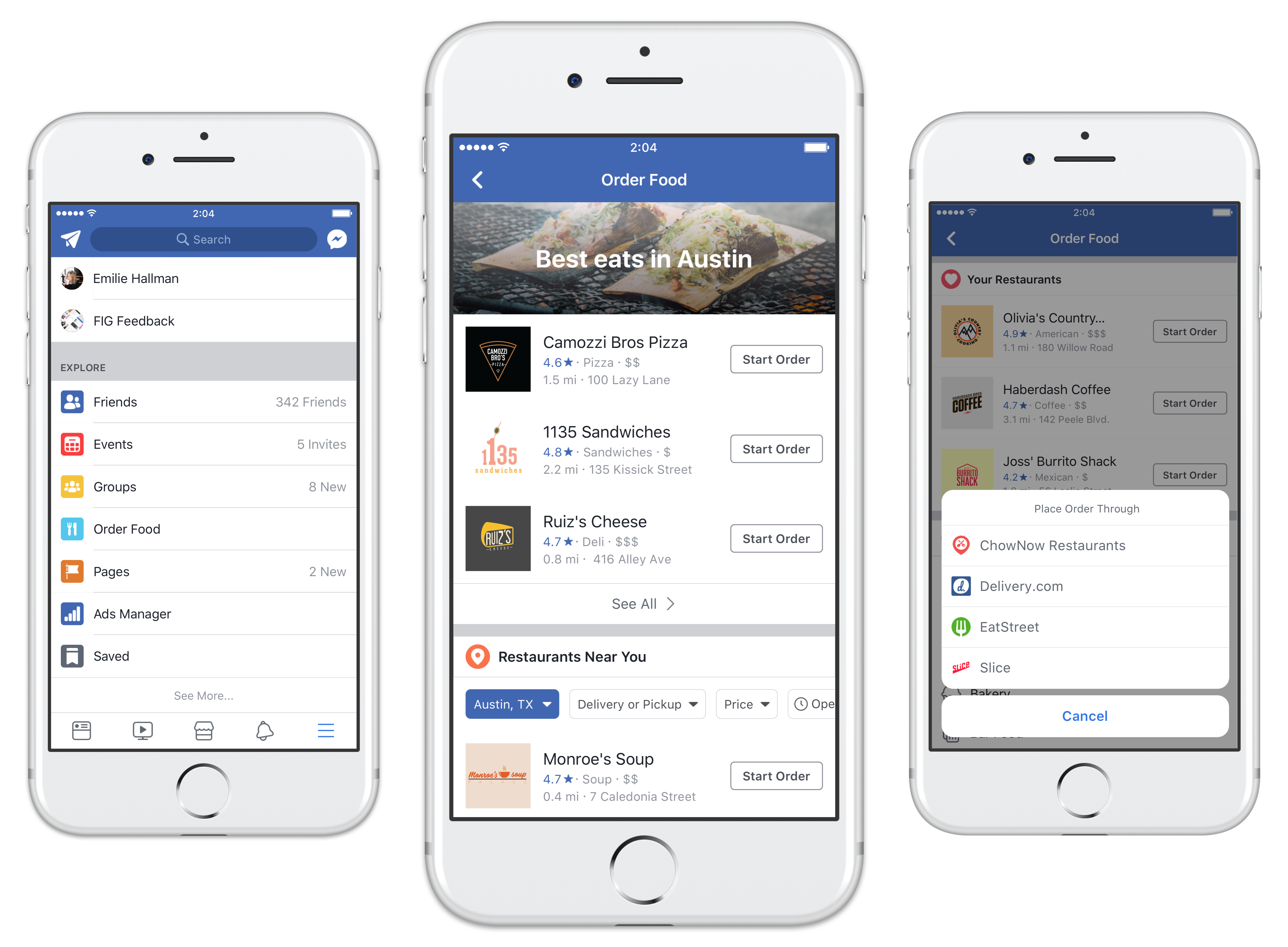 Facebook's food delivery feature now brings Five Guys to all
