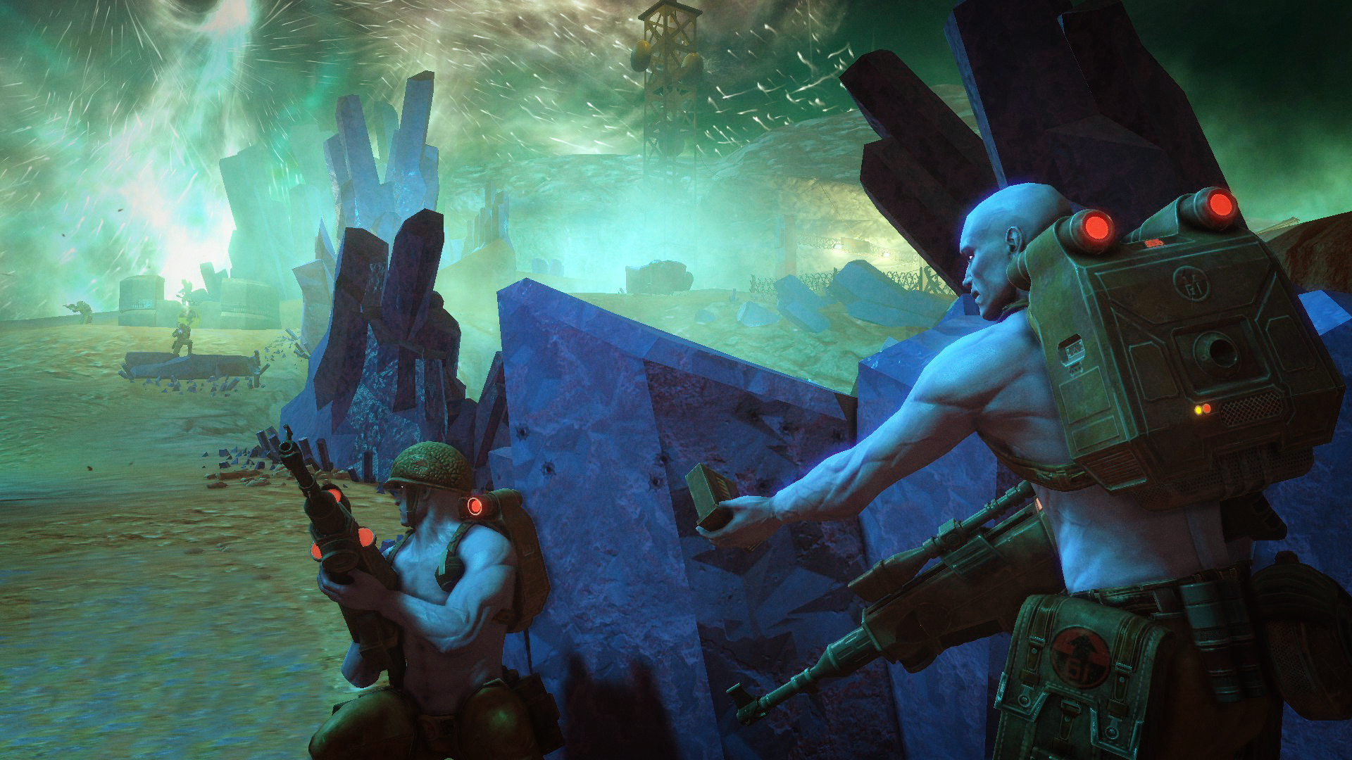 Rogue Trooper Redux - two soldiers taking cover behind rock crystals