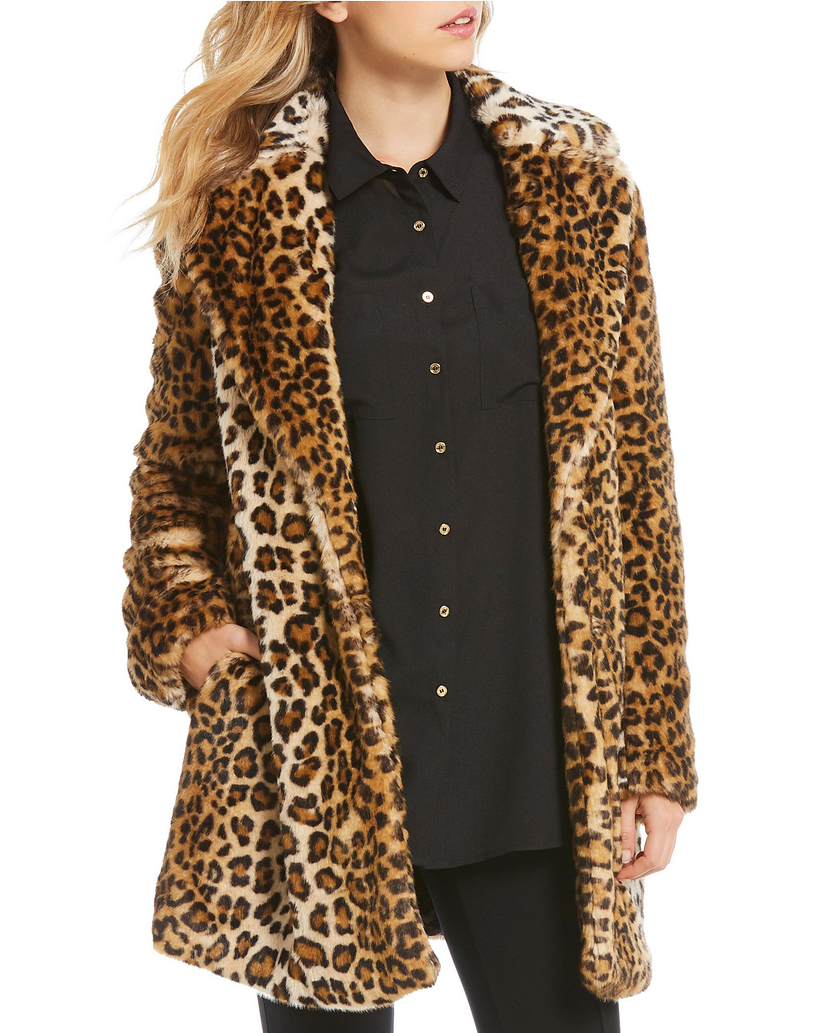 Faux fur sleeve trim keeps hands warm in fun fashion. Choose leopard-print faux fur trim to make a statement in any situation. From casual to dressy, faux fur trim complements any ensemble. Discover the pizzazz of faux fur coats by INC International Concepts. Take a walk on the edgy side in faux fur jackets by Style&co. Release your inner vixen with coats from Me Jane.