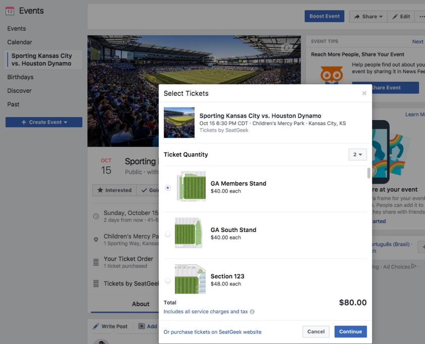 SeatGeek Facebook integration