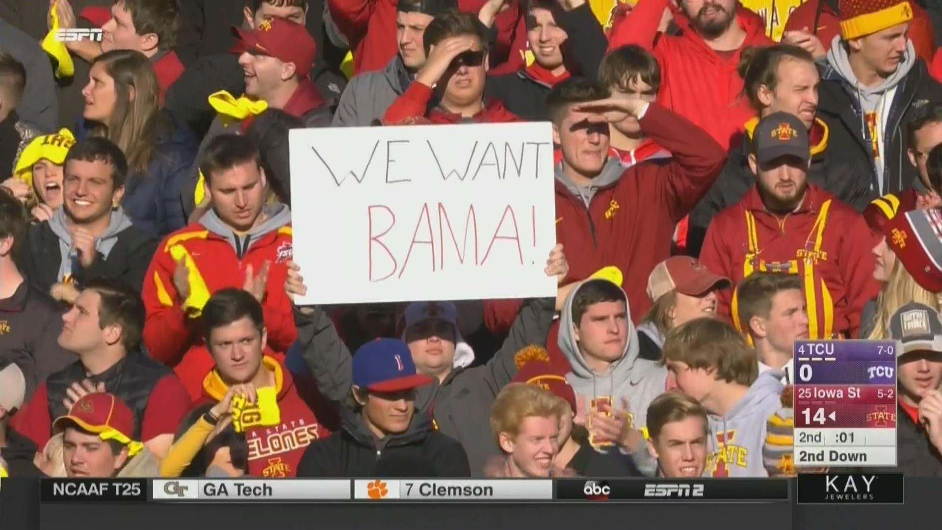 20171028160844 college football's 'we want bama' signs meme, explained sbnation com