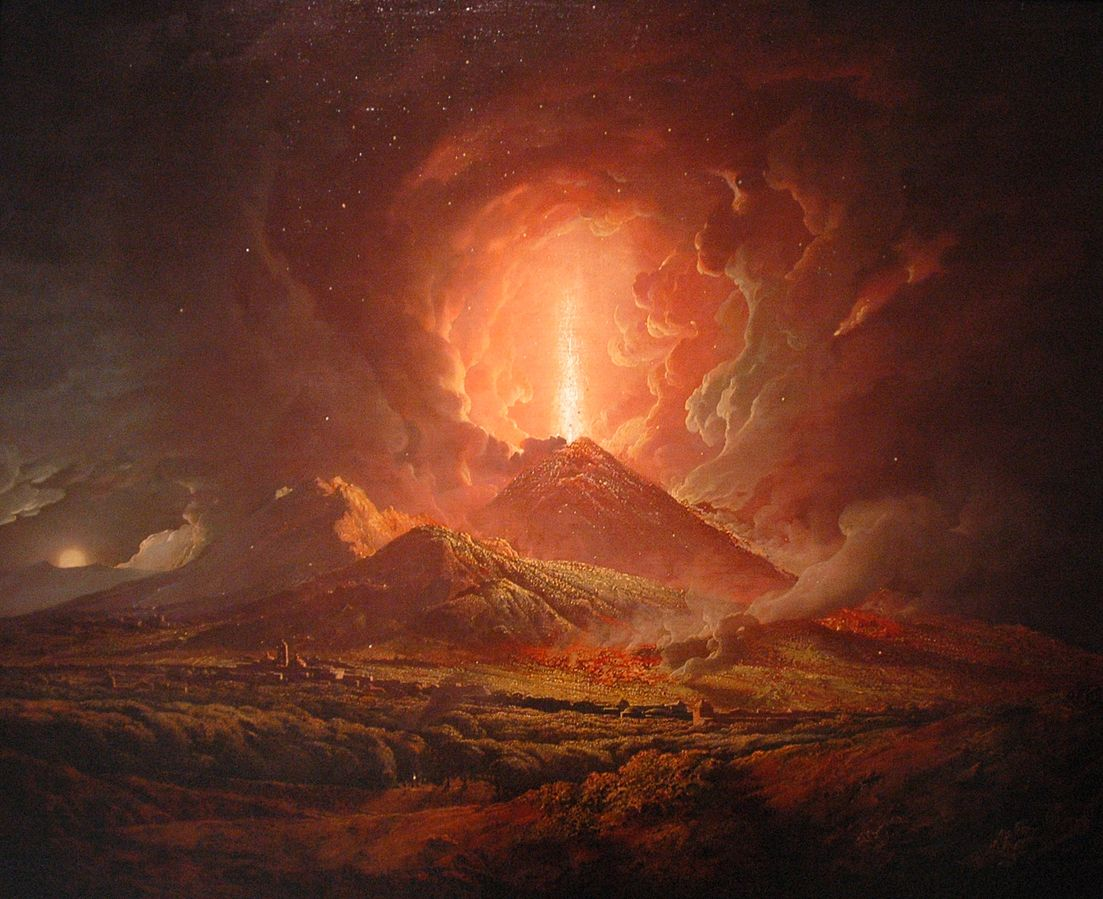 A painting (circa 1774 to 1776) depicting Vesuvius erupting, by Joseph Wright. Volcanic eruptions in the 530s and 540s nearly blotted out the sun.