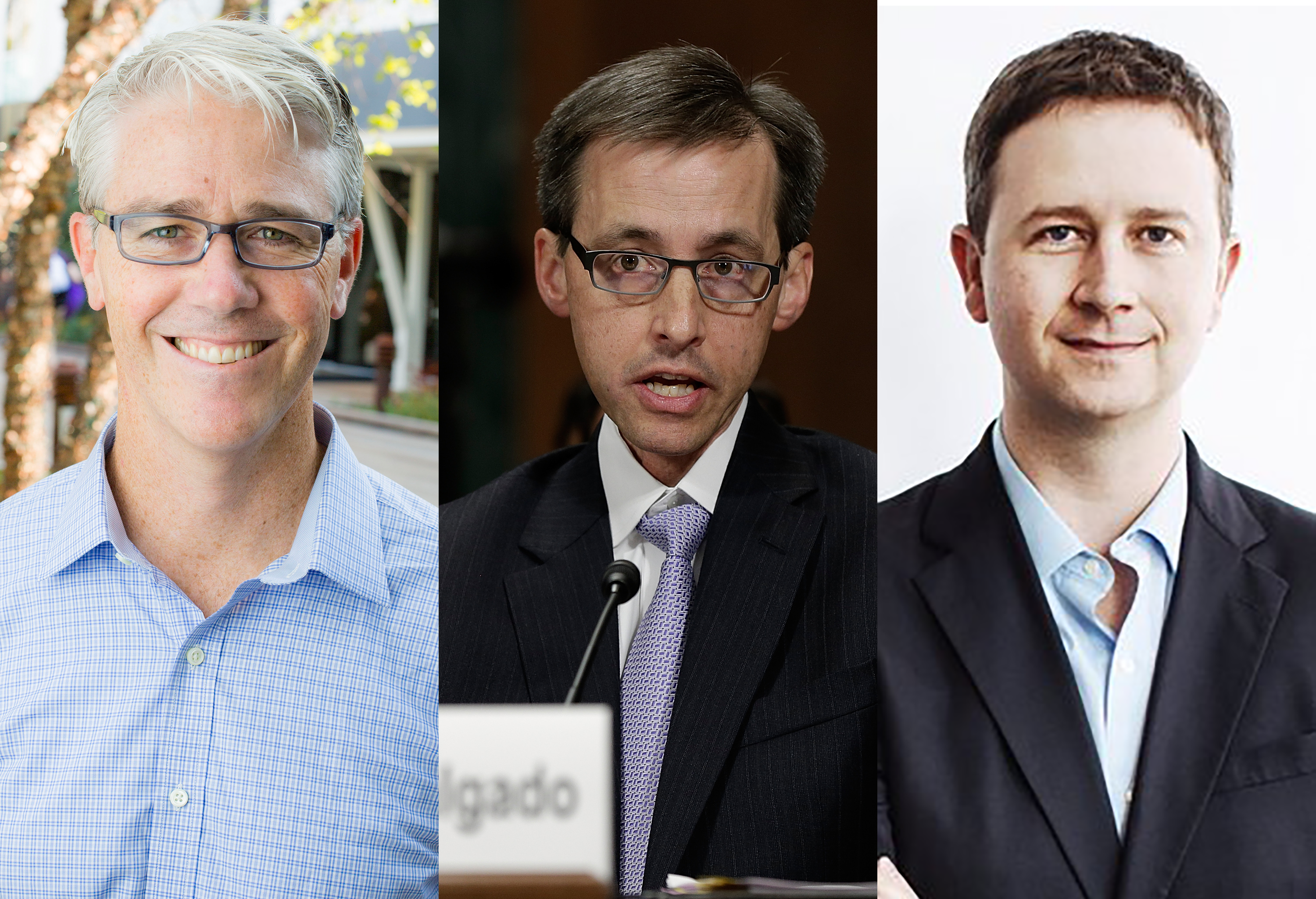 Headshots of three senior executives from Facebook, Google and Twitter are shown. Facebook's Colin Stretch, Google's Rich Salgado and Twitter's Sean Edgett are shown.