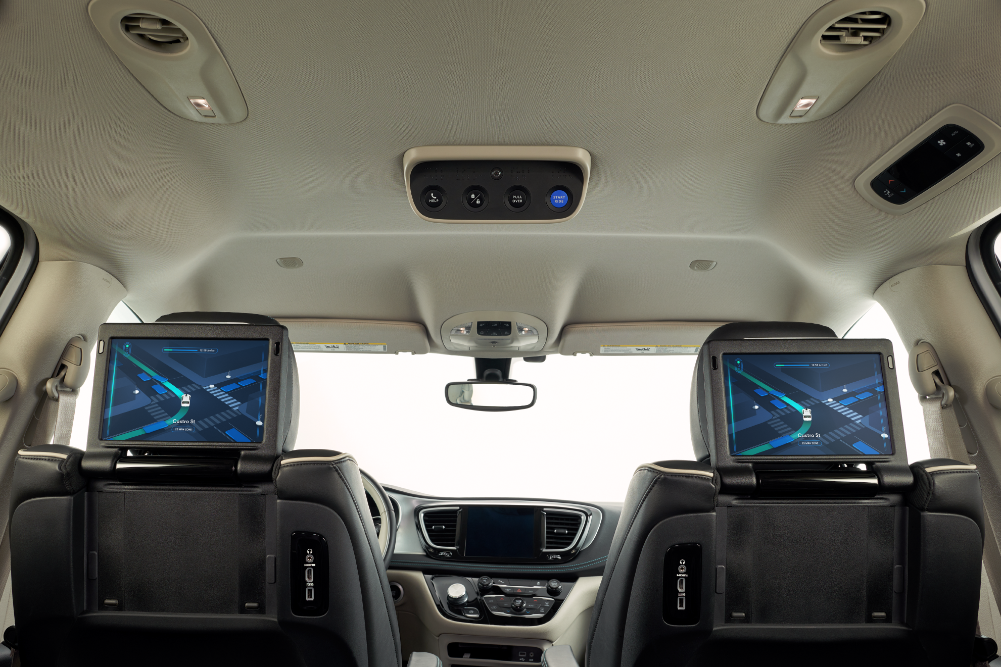 Inside Waymo's Chrysler Pacifica minivan.