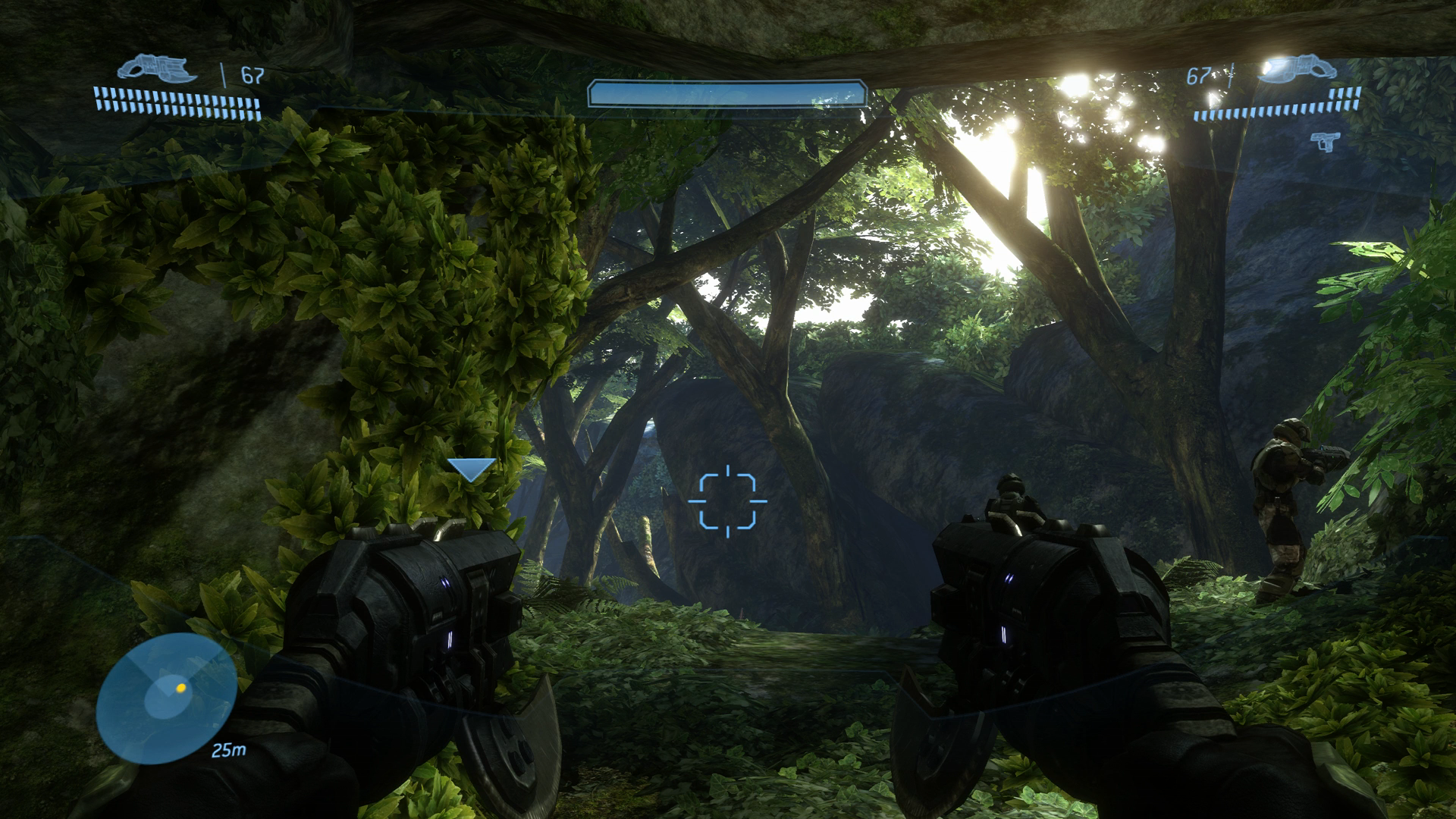foliage and sun shining through trees in Halo 3 running on an Xbox One X