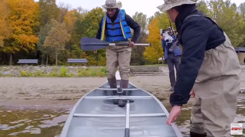 Watch Wolves star Jimmy Butler scream, fall out of canoe