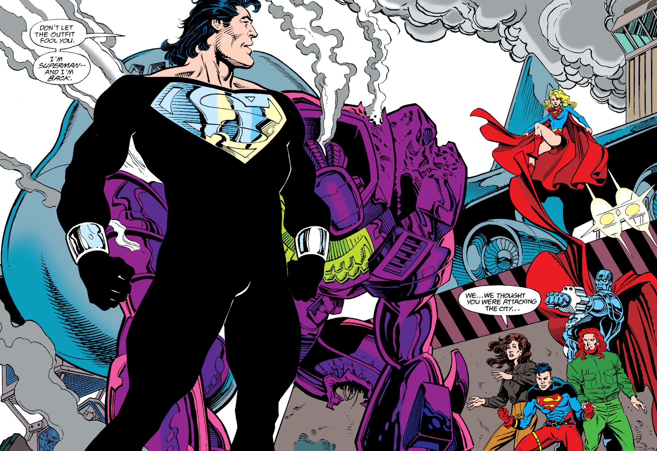 Superman returns to Metropolis after his death in a new costume (ft. Supergirl, Lois Lane, Superboy, Steel and Lex Luthor), from Superman #82 (1993), DC Comics.