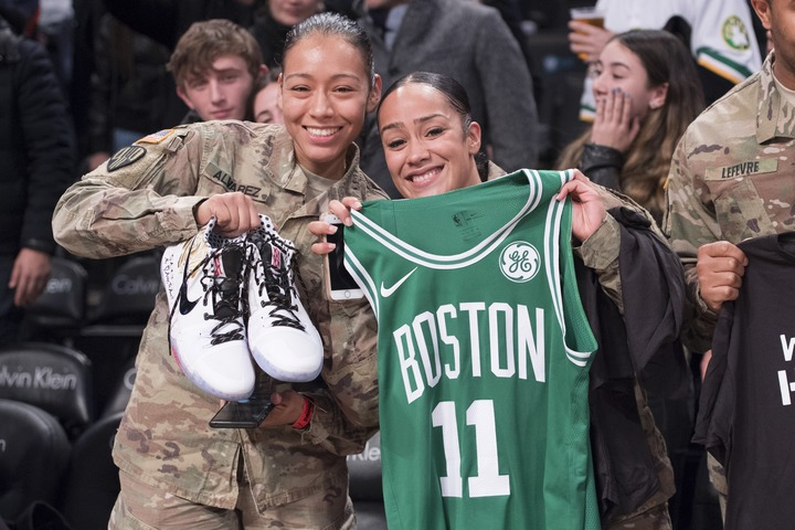 Kyrie Irving gives away jersey, shoes to military veterans following Celtics win