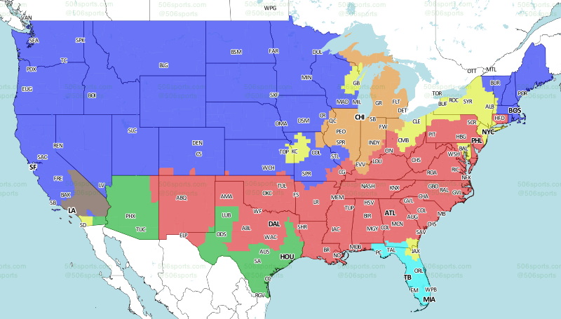 Buffalo Bills Vs Los Angeles Chargers Television Broadcast Map - Buffalo on us map